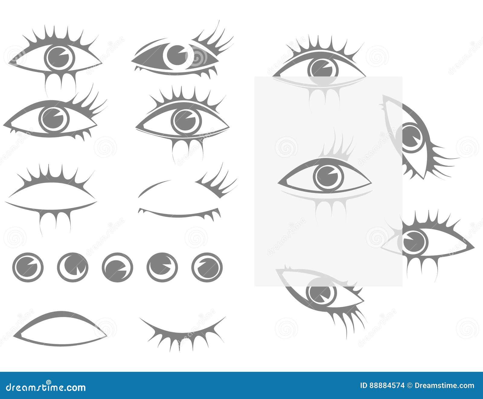 Установите глаза и ресницы