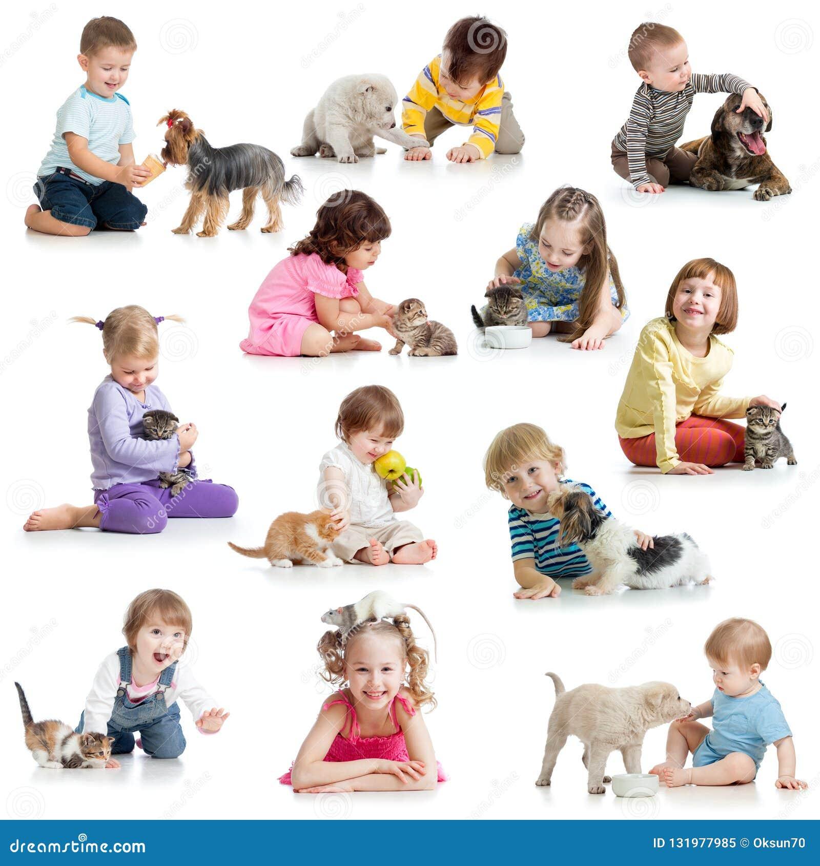 Установите детей с собаками любимцев, котами, крысой
