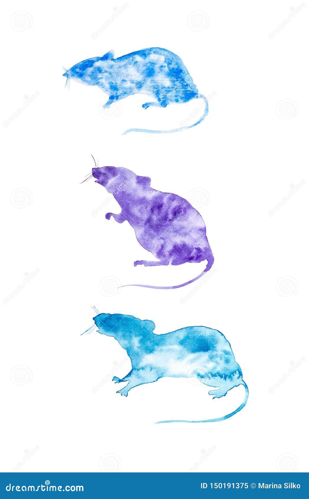 Установите для календаря 3 абстрактных крыс Символ 2020 Новых Годов Установите на сезон зимы: Февраль -го январь -го декабрь, r