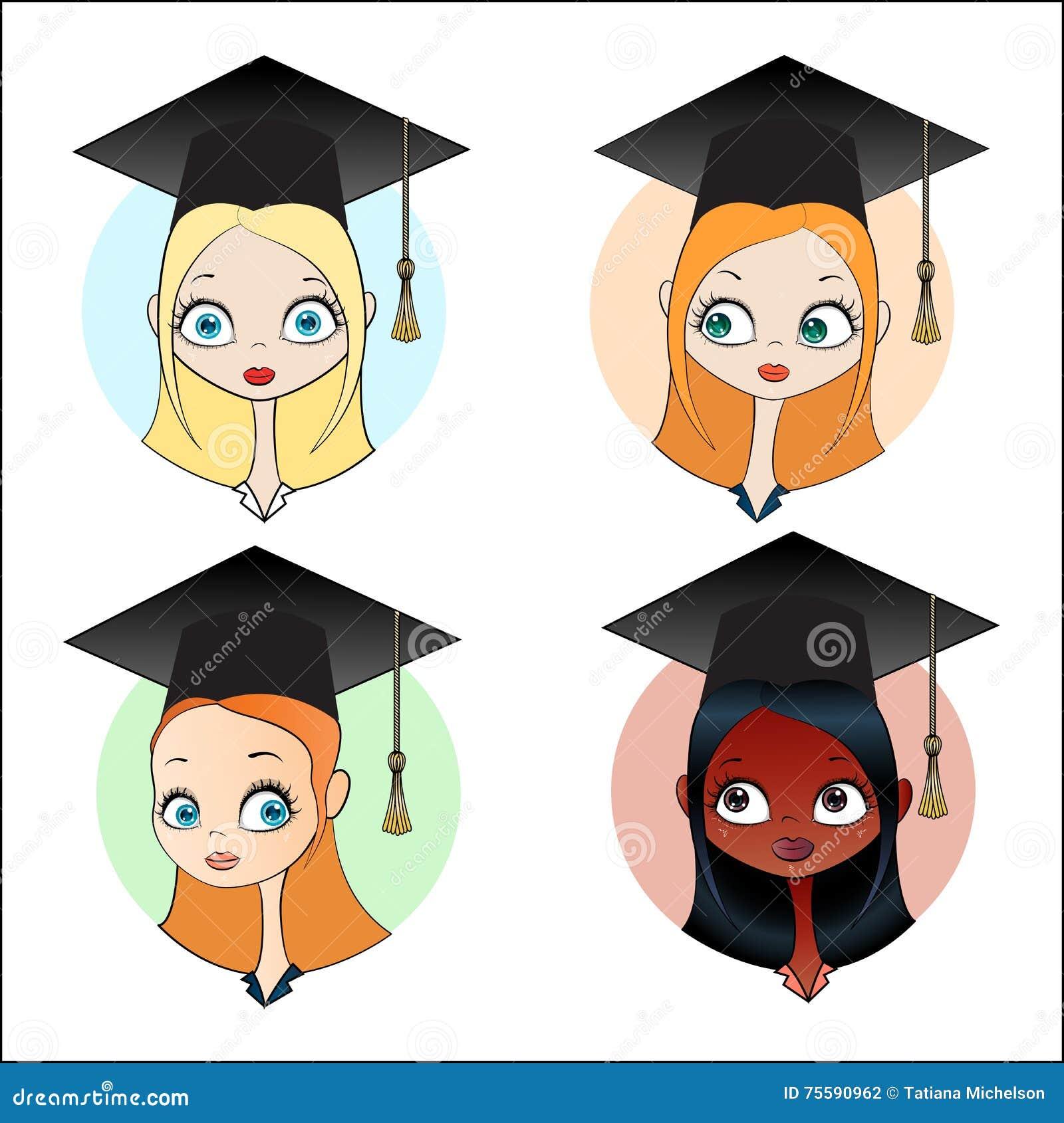 Установите девушку в квадратной академичной крышке