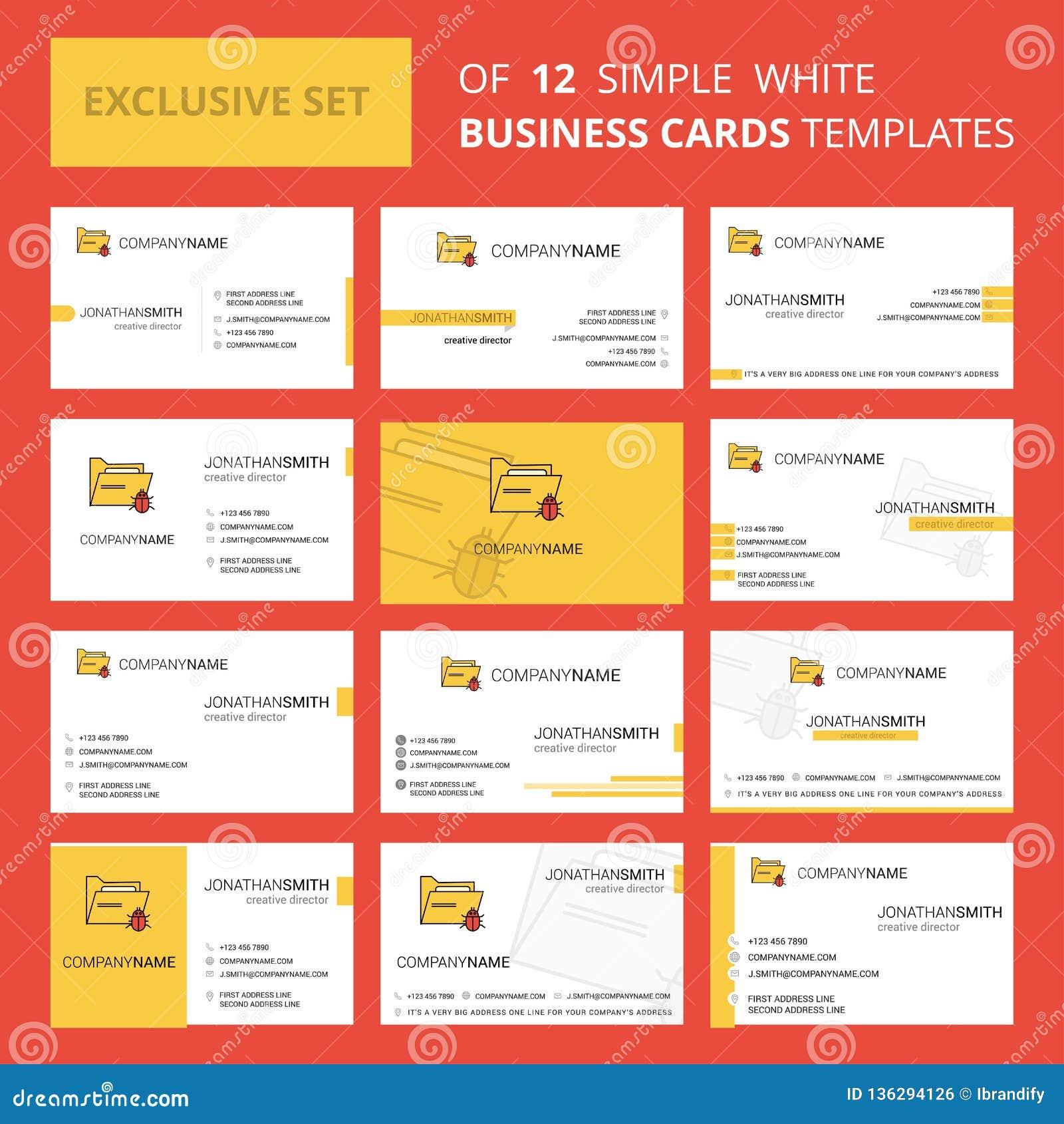 Установите 12 зараженного шаблона карты Busienss папки творческого Предпосылка Editable творческие логотип и карта посещения