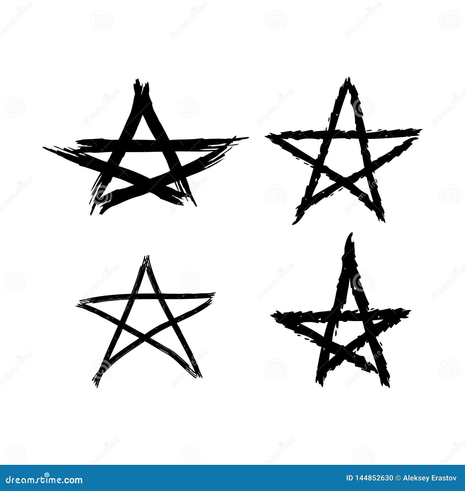 Установите звезд grunge покрашенных с грубой щеткой Черные элементы на белой предпосылке Эскиз, акварель, граффити