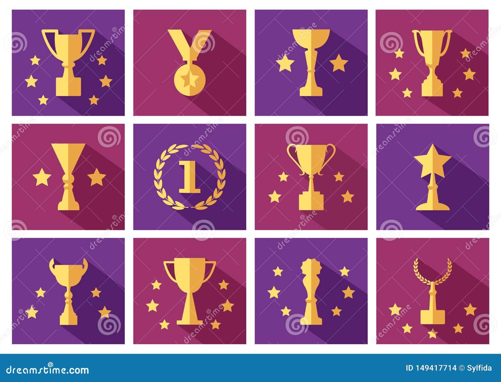 Установите золотых наград и значков чашек со звездами r