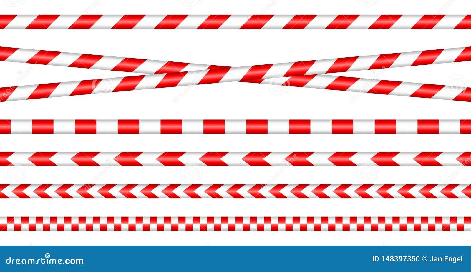 Установите лент барьера красный/белый