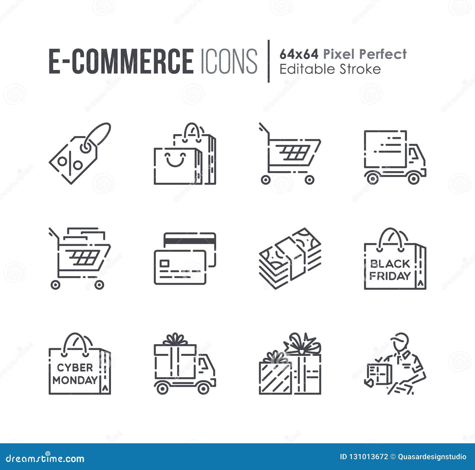 Установите линия значки вектора электронной коммерции и покупок