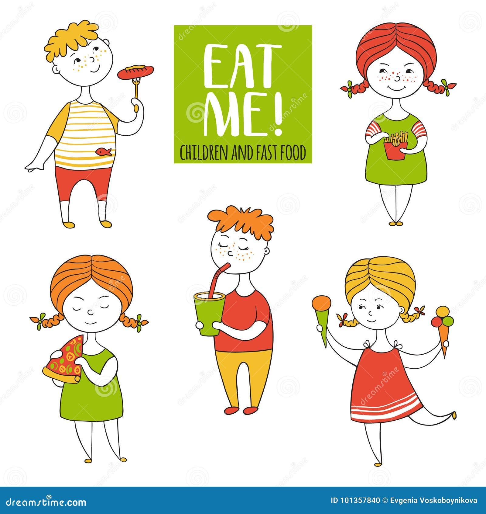 Установите мальчиков и еды девушек