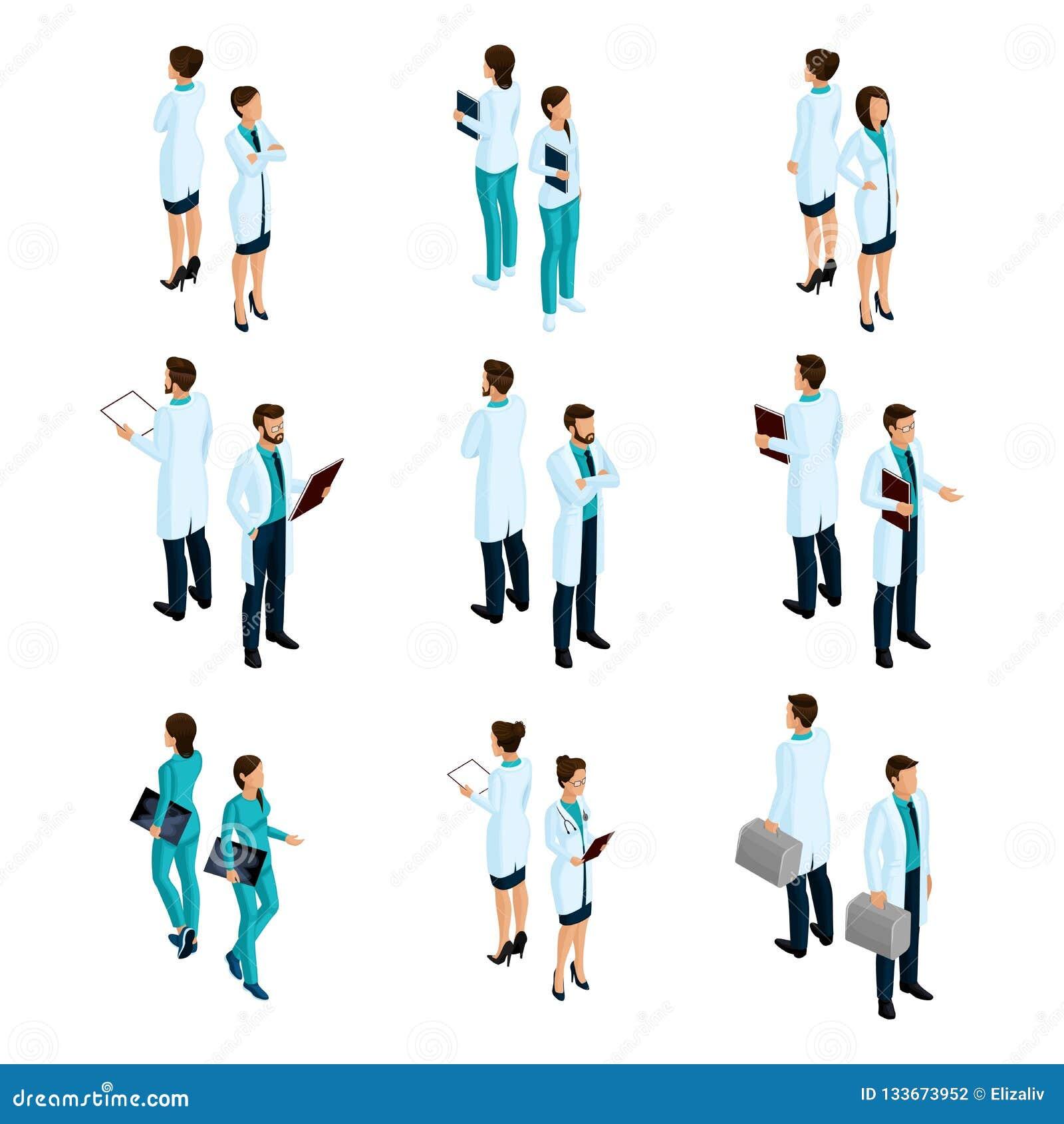 Установите медицинских работников в равновеликих фронте и задней части, персонале больницы, докторе, хирурге, медсестре