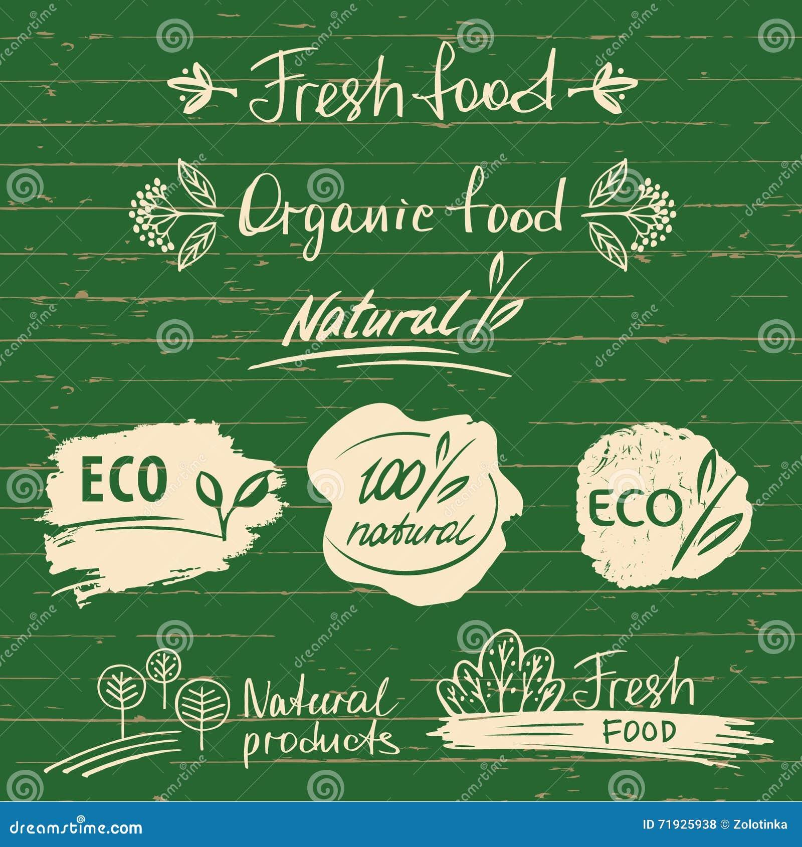Установите логотипы, ярлыки с естественными дизайнами эскиза свежих продуктов органическо
