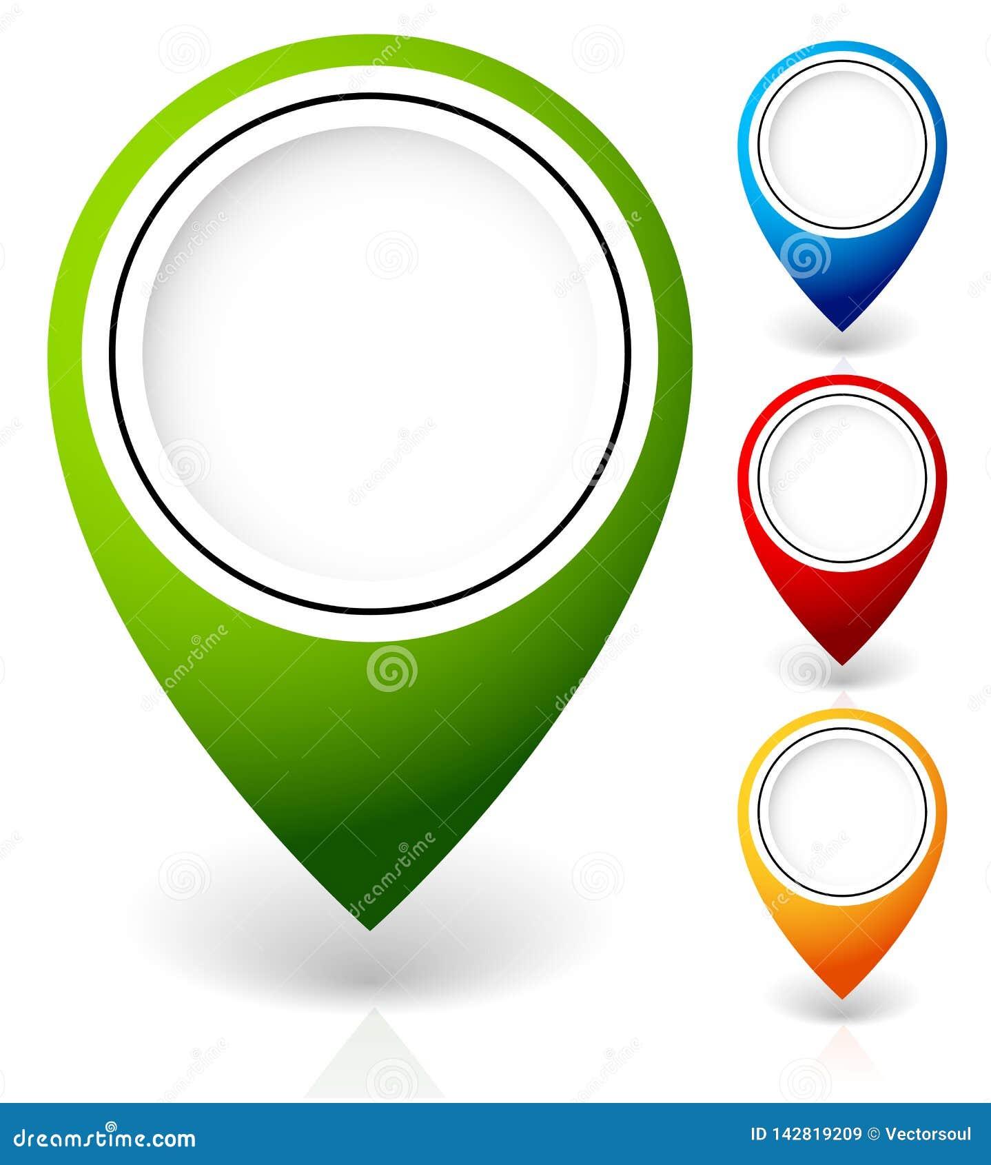 Установите отметок карты вектора, с различными цветами