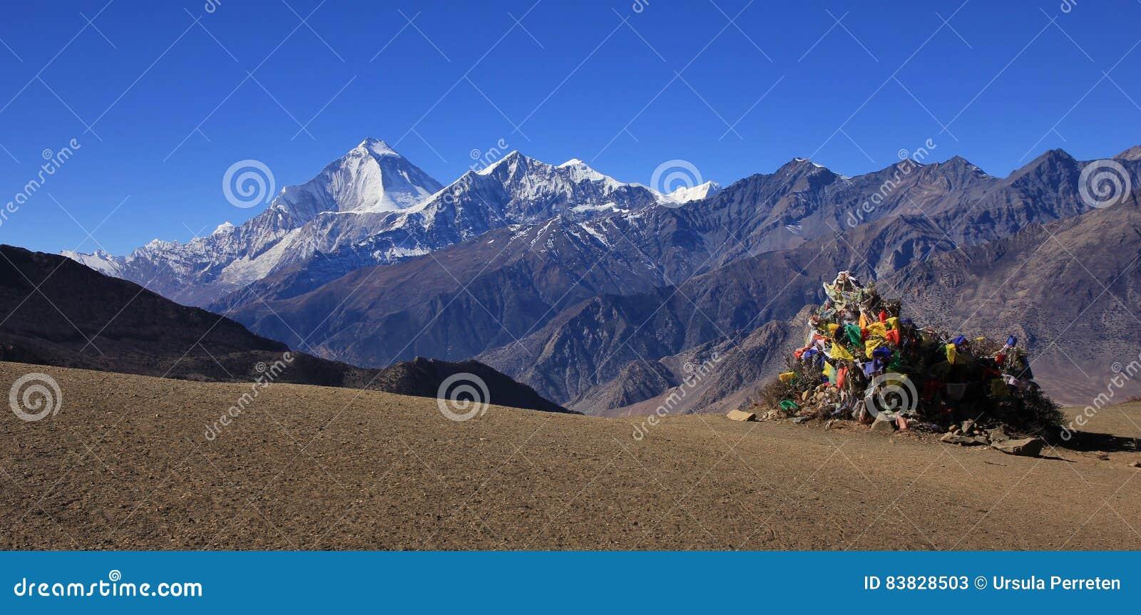 Установите пик Dhaulagiri и Tukuche увиденный от Muktinath