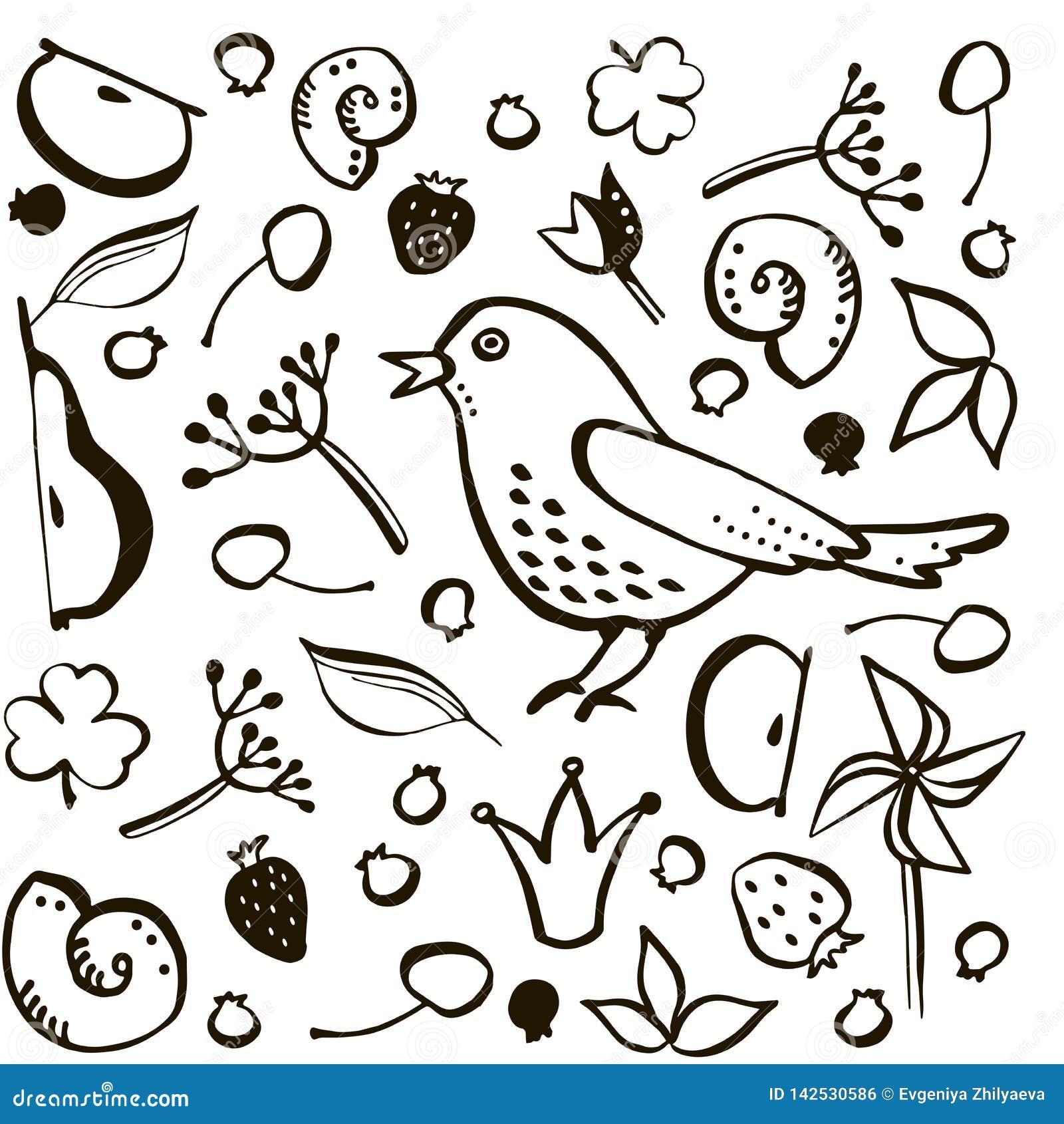 Установите птицу и ягоду