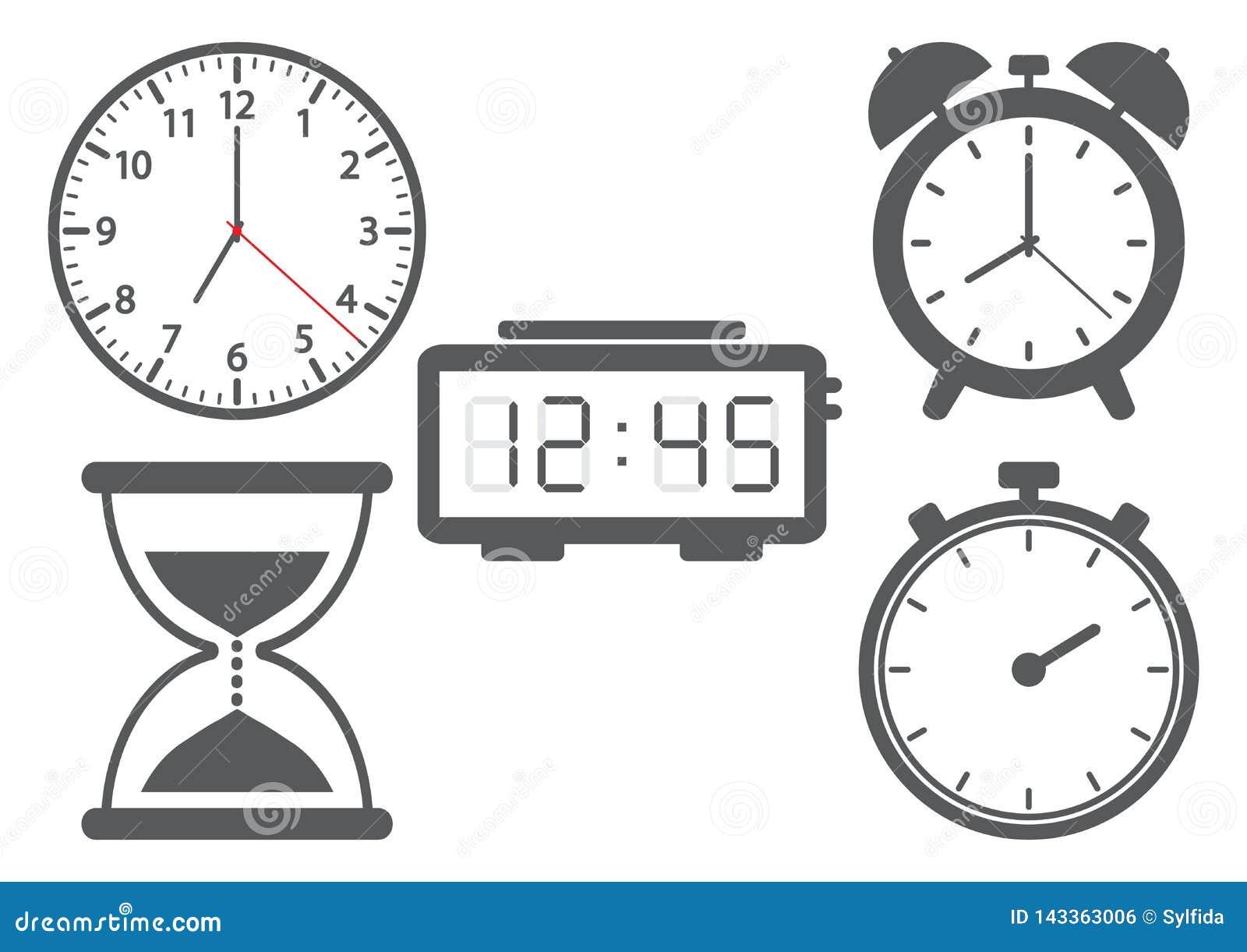 Установите различных часов также вектор иллюстрации притяжки corel