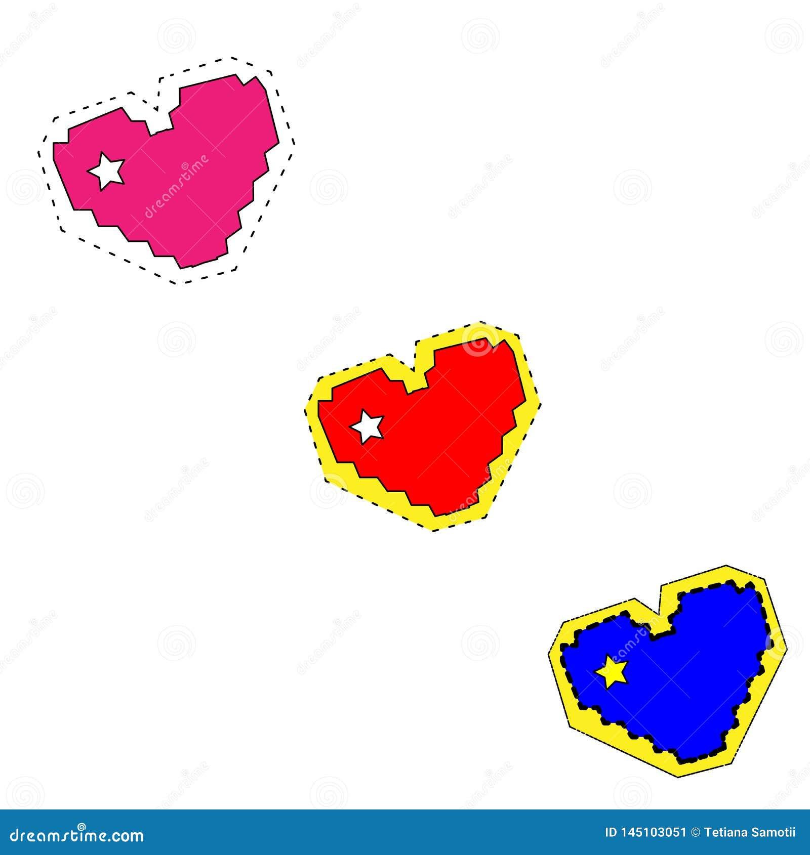 E Установите сердец в рисуя стиле