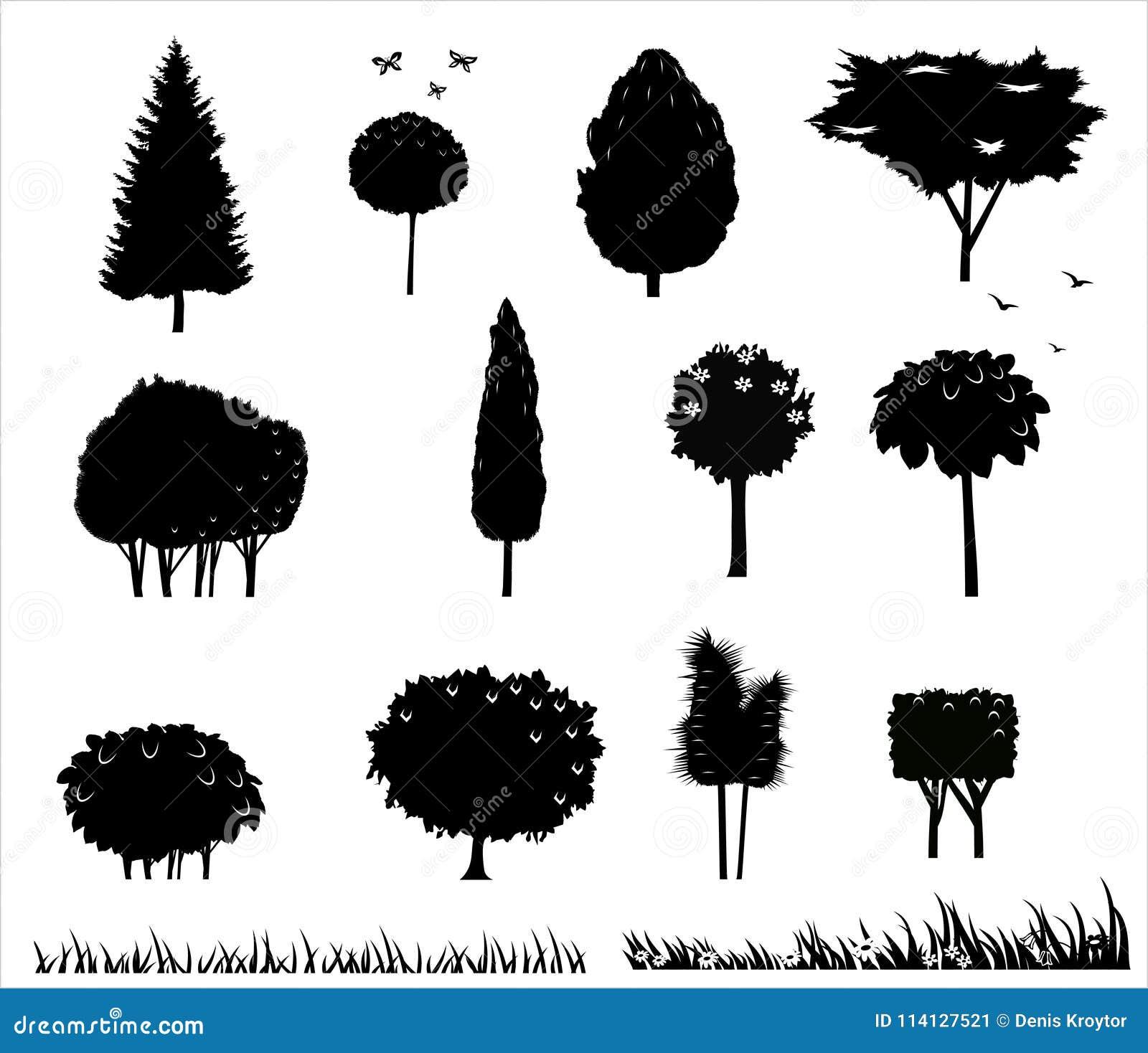 Установите силуэты деревьев 2
