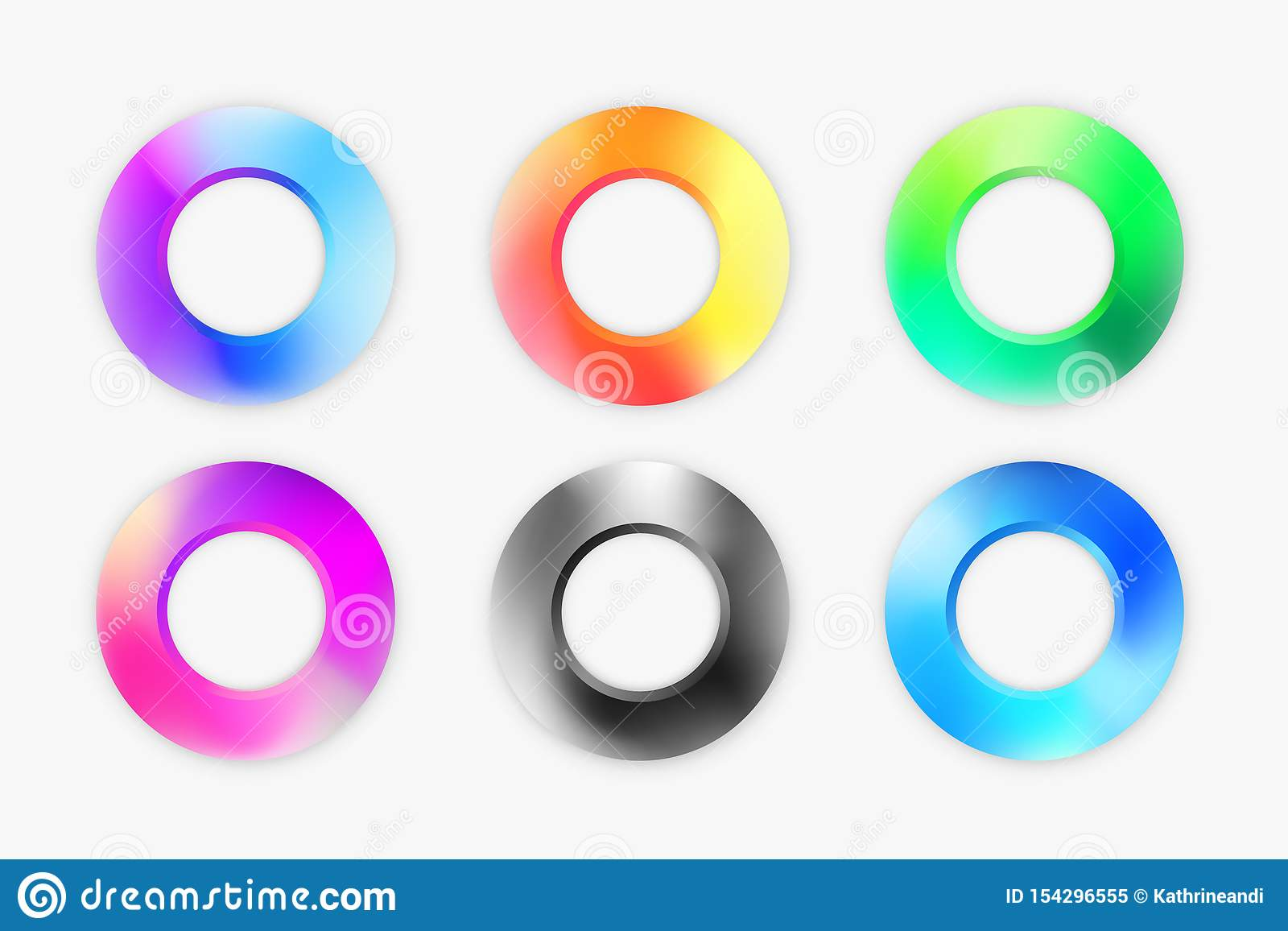 Установите современных элементов колец в красочной палитре