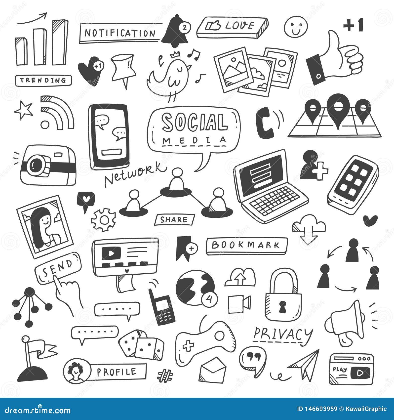 Установите социальных doodles средств массовой информации