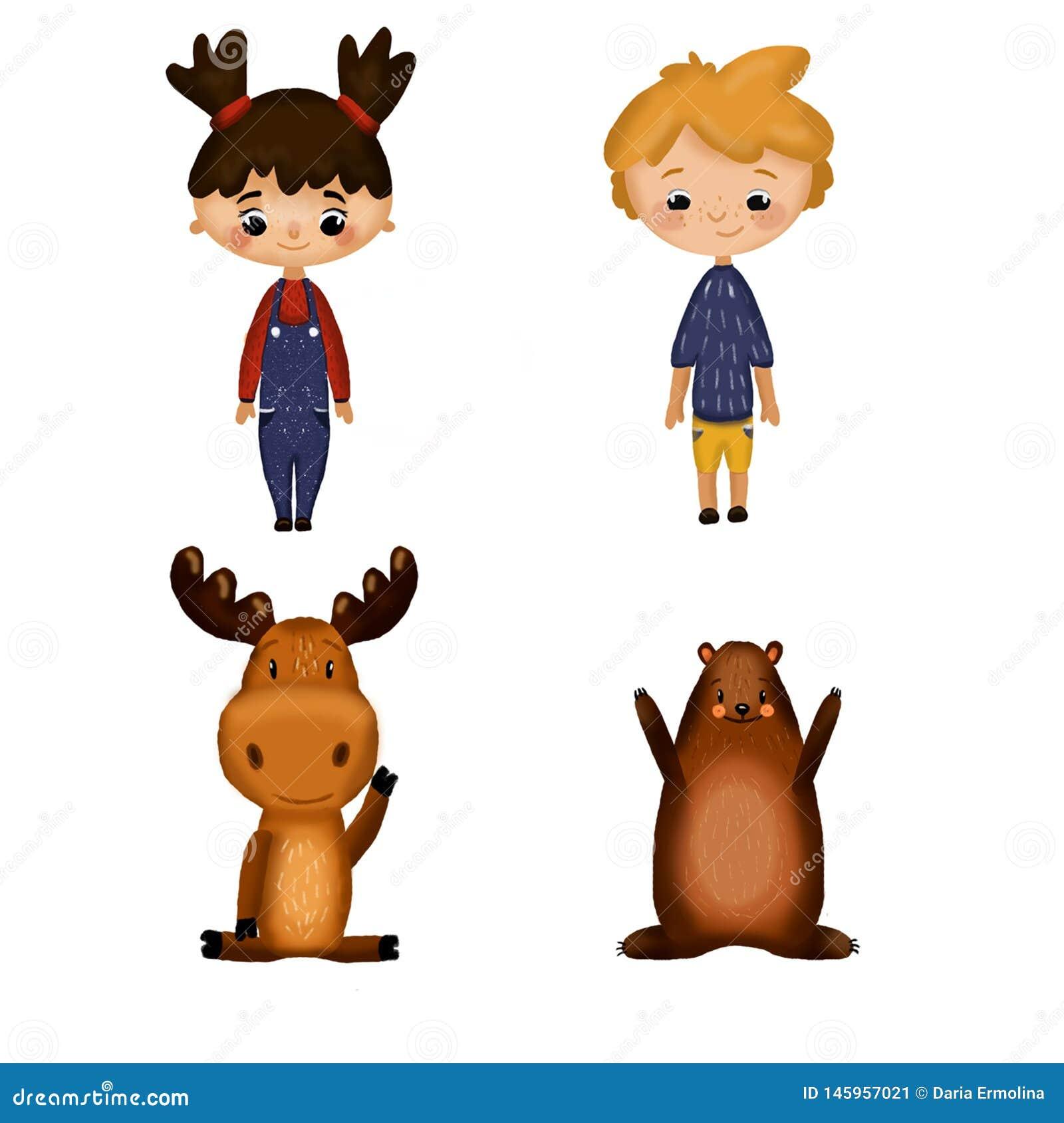 Установите с мальчиком, девушкой и животными