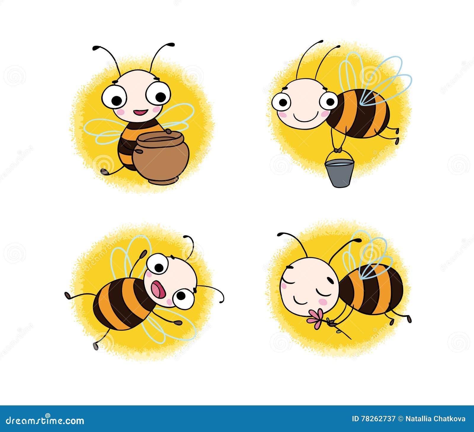 Установите с милыми пчелами шаржа