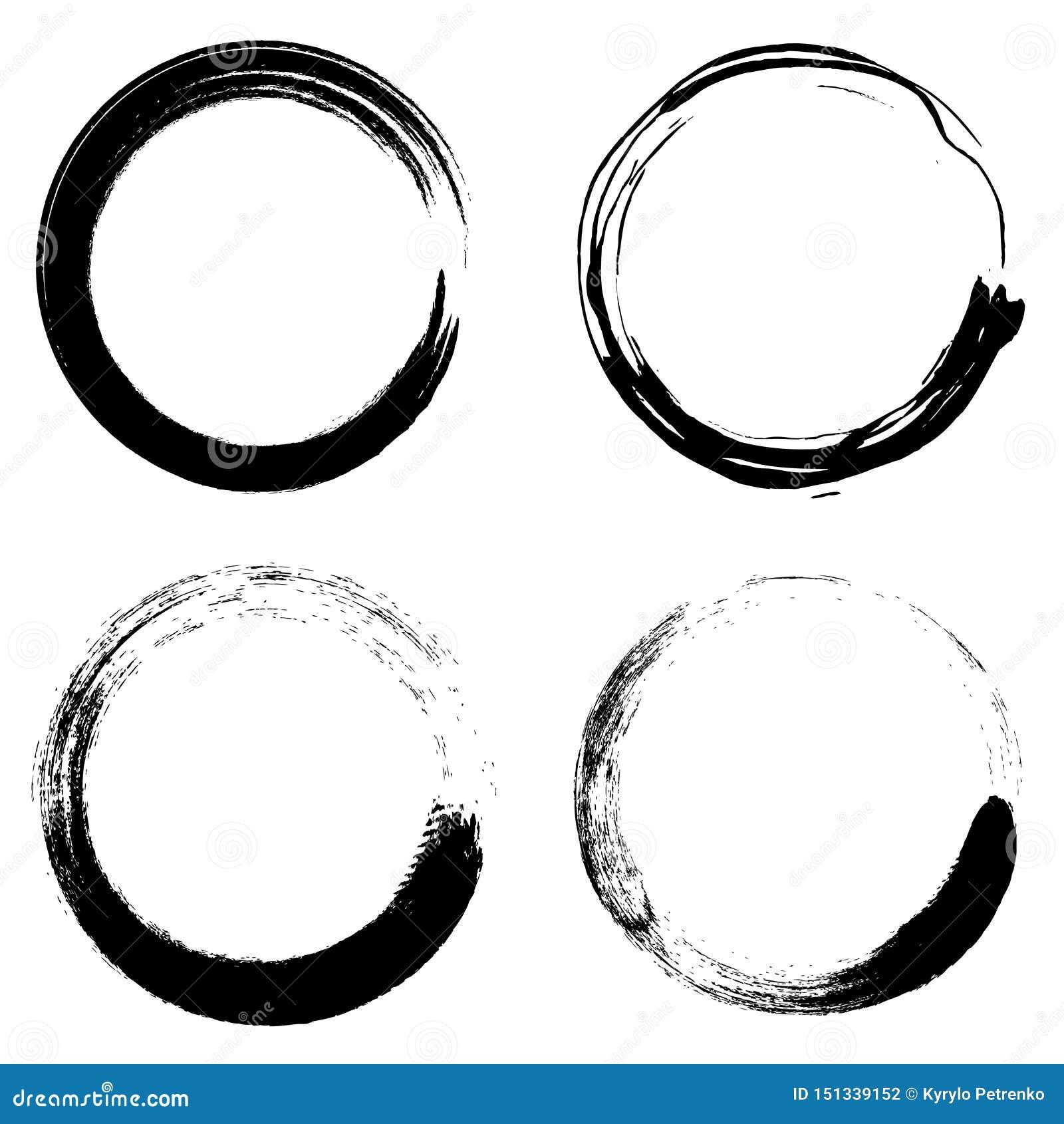 Установите темного вектора кругов щетки grunge
