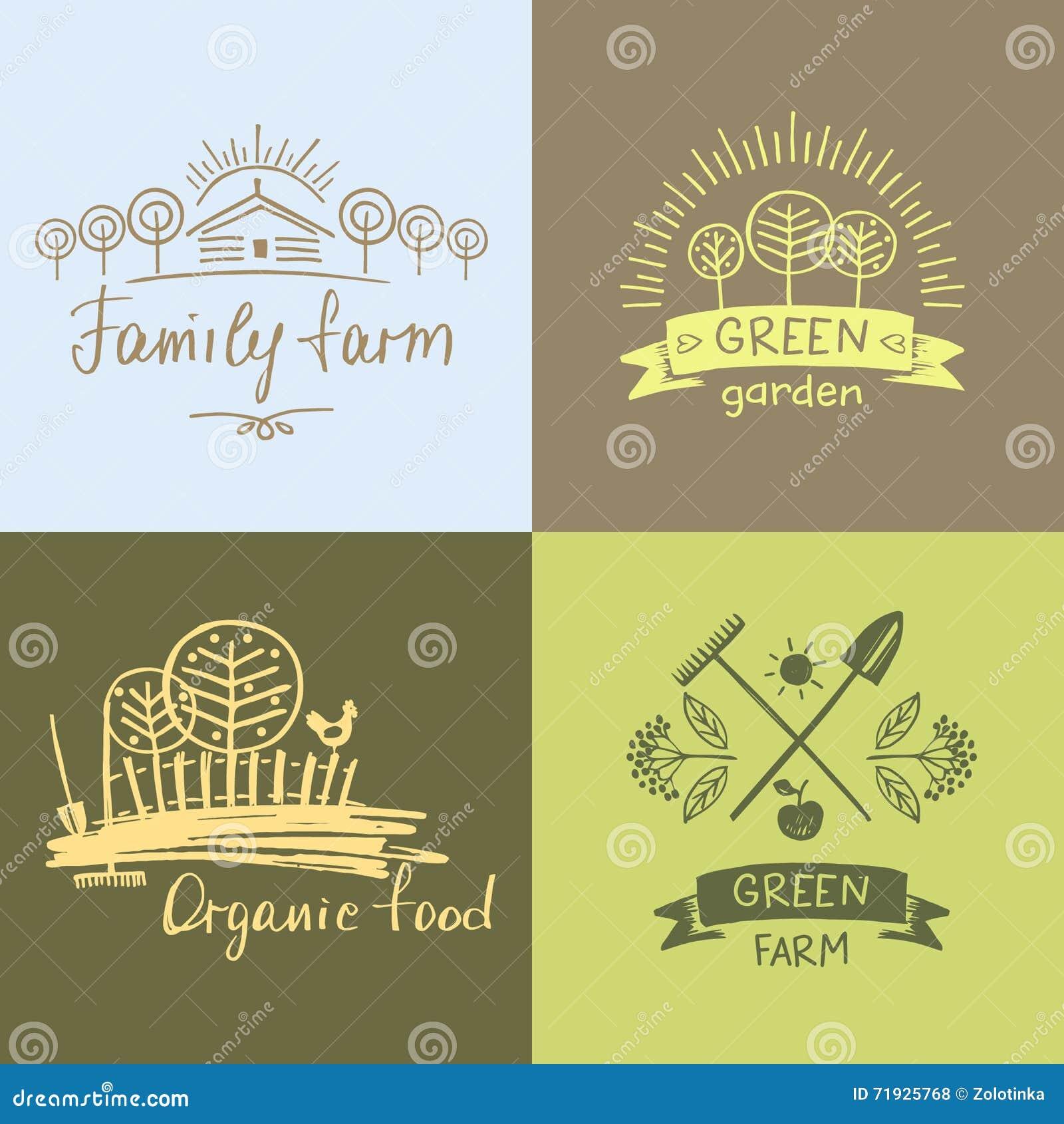 Установите ферму семьи логотипов Натуральные продукты логотипа Элемент нарисованный рукой
