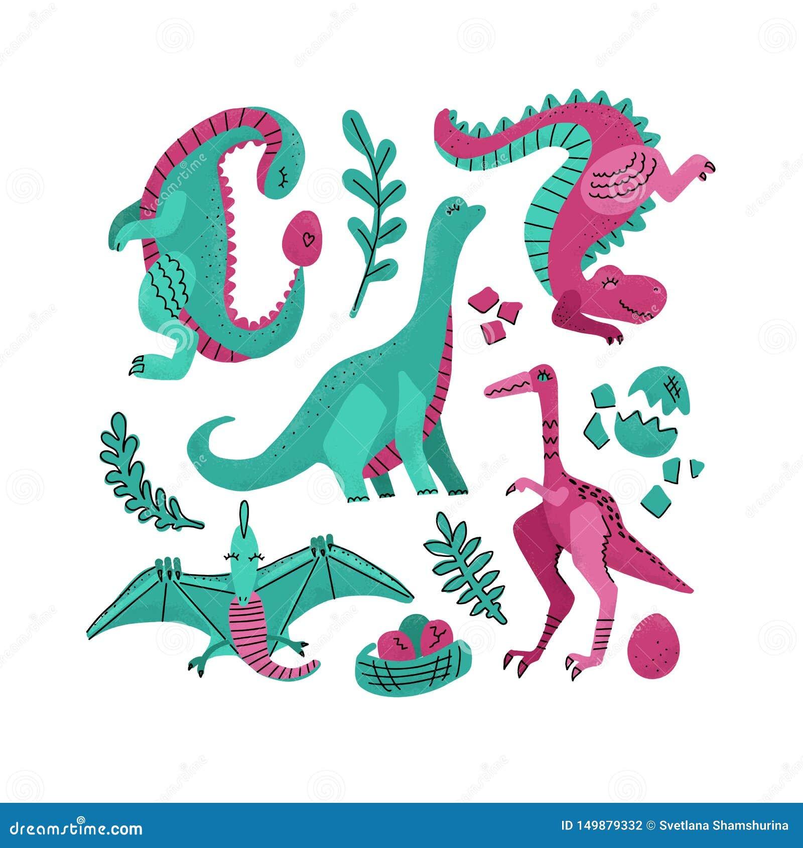 Установите 5 характеров вектора милой руки цвета динозавра вычерченных Clipart Dino плоское handdrawn Гад эскиза юрский pterodact