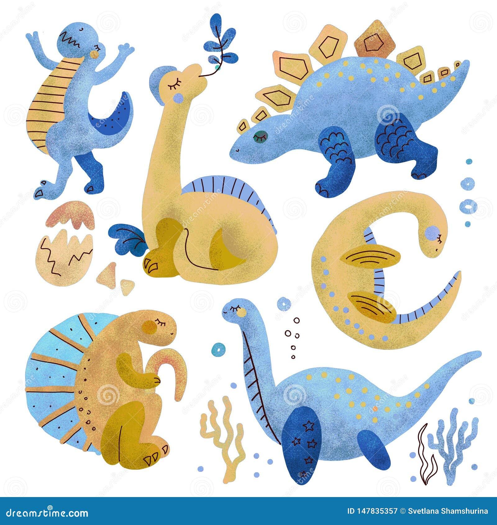 Установите 5 характеров милой руки цвета динозавра вычерченных текстурированных Clipart Dino плоское handdrawn Гад эскиза юрский