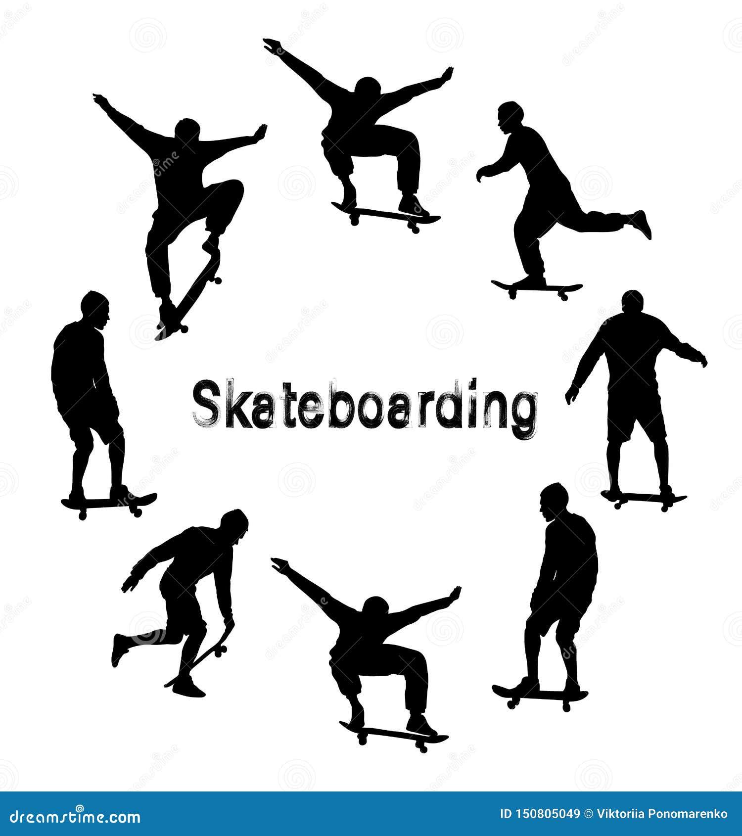 Установите черных силуэтов скейтбордиста Текст Grunge текстурированный стилем