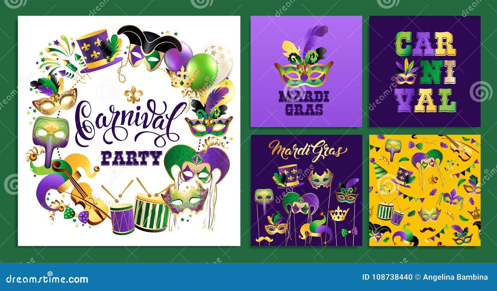 Установите шаблон с золотыми масками масленицы на черной предпосылке Граница блестящего торжества праздничная также вектор иллюст
