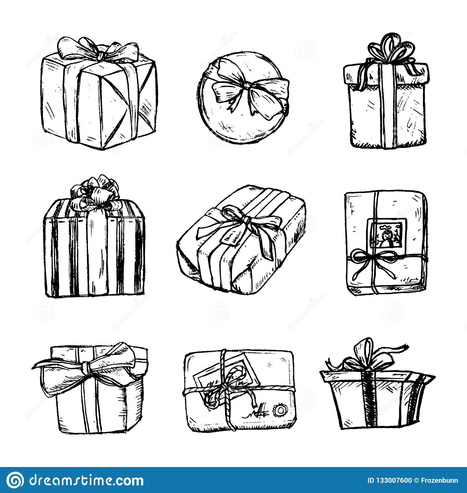Установите эскиза карандаша присутствующей коробки со смычком и лентой подарок