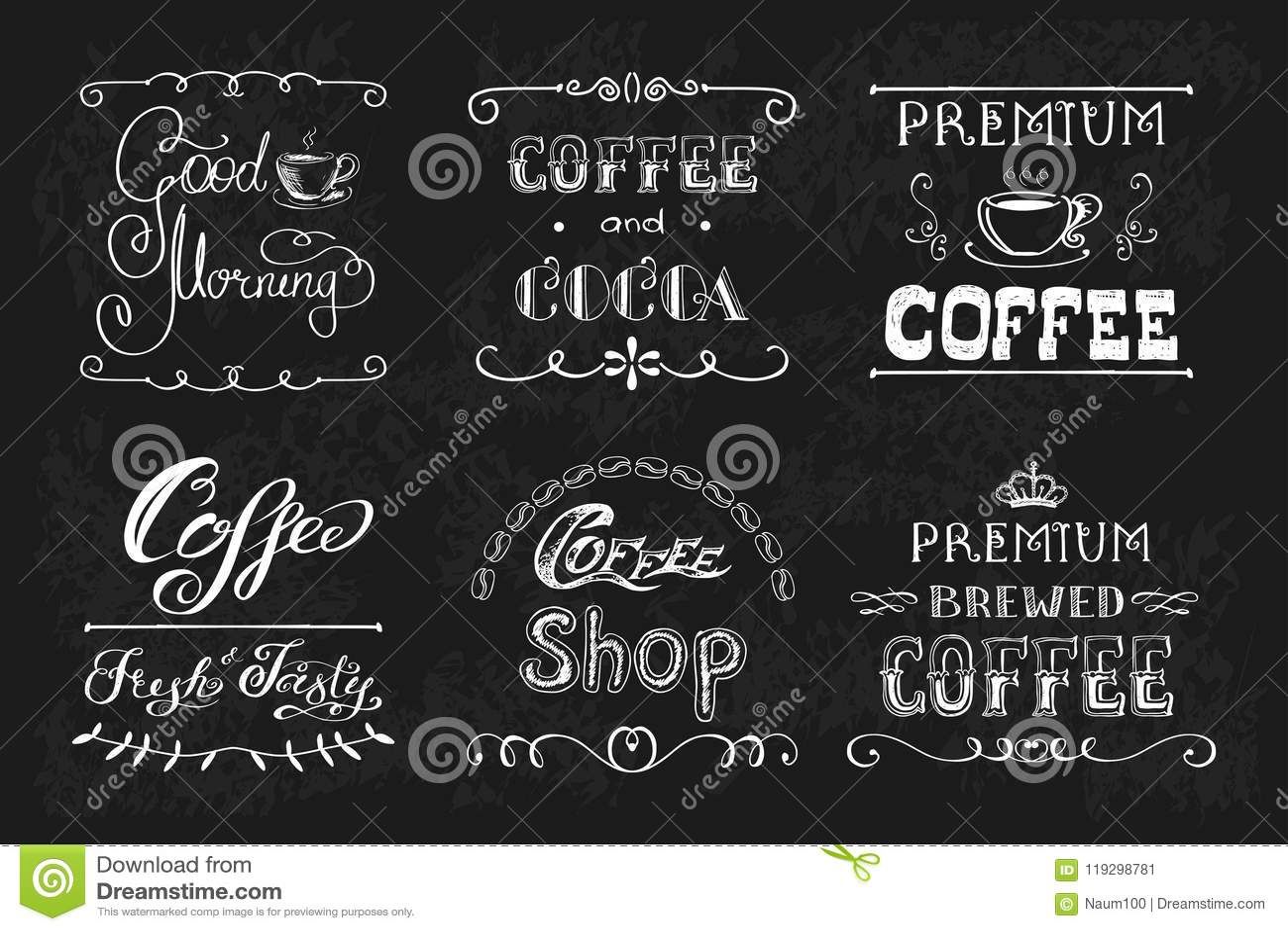 Установите ярлыки или знамена кофе