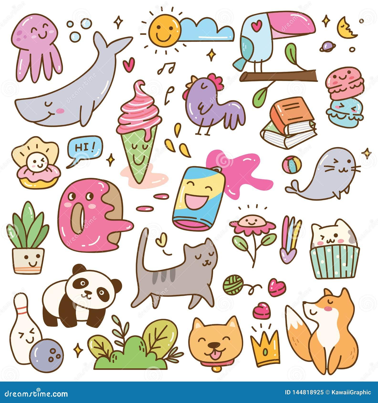 Установите kawaii doodles элемент дизайна