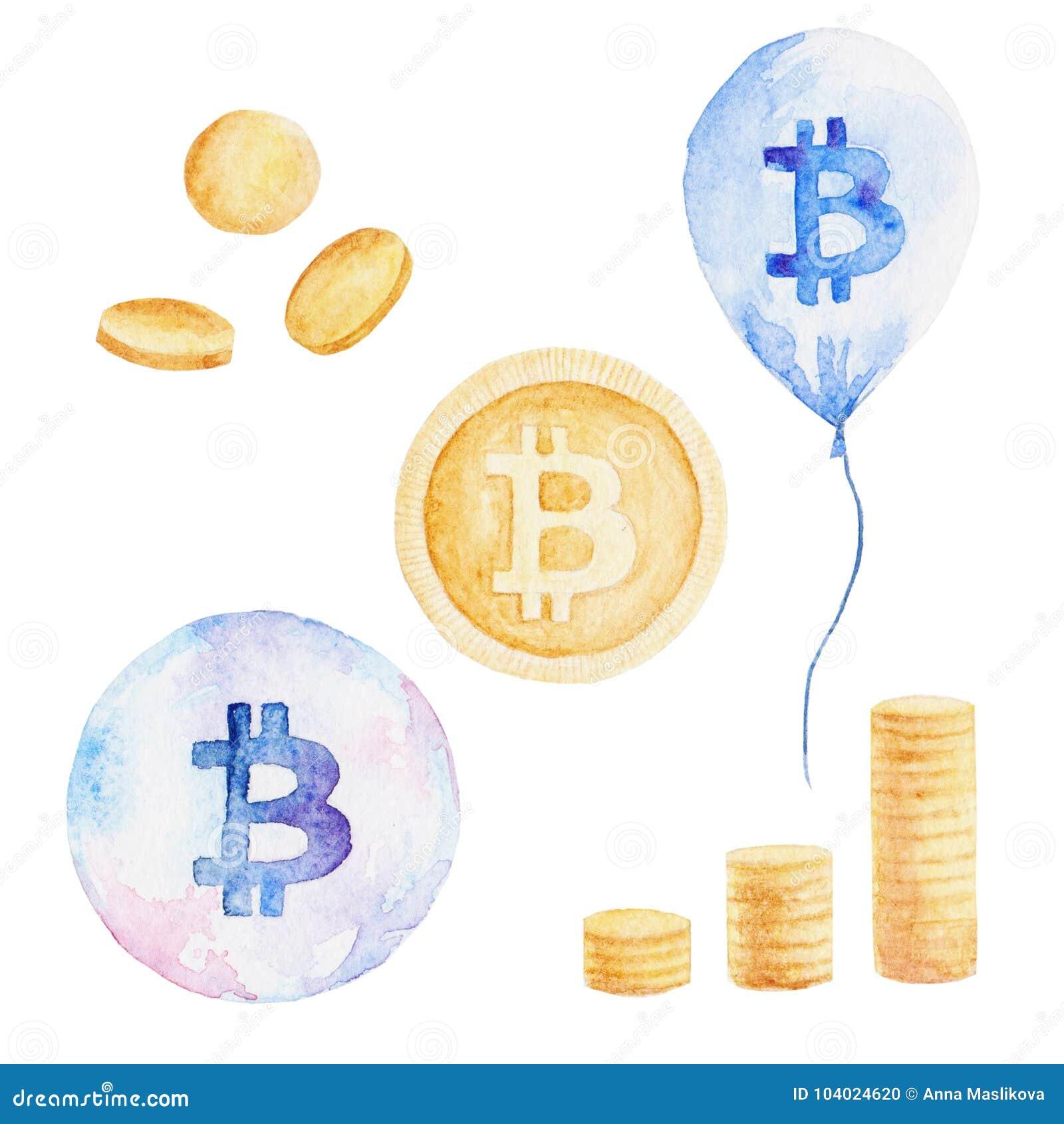 Установленная валюта акварели: bitcoin, доллар, евро, фунт отражение дег дома имущества принципиальной схемы реальное Иллюстрация