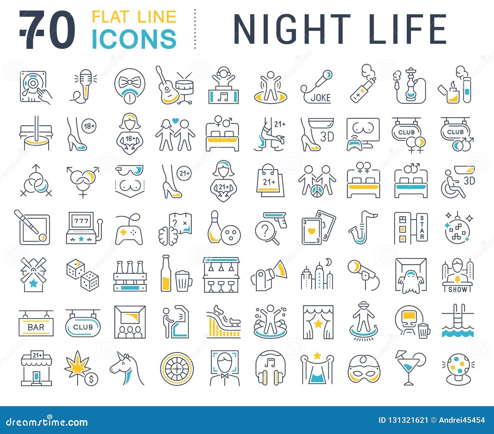 Установленная линия значки вектора ночной жизни