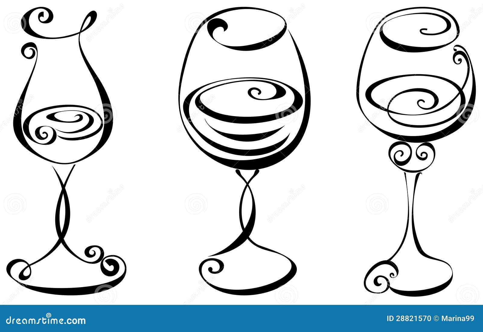 Установленное стилизованное стекло вина