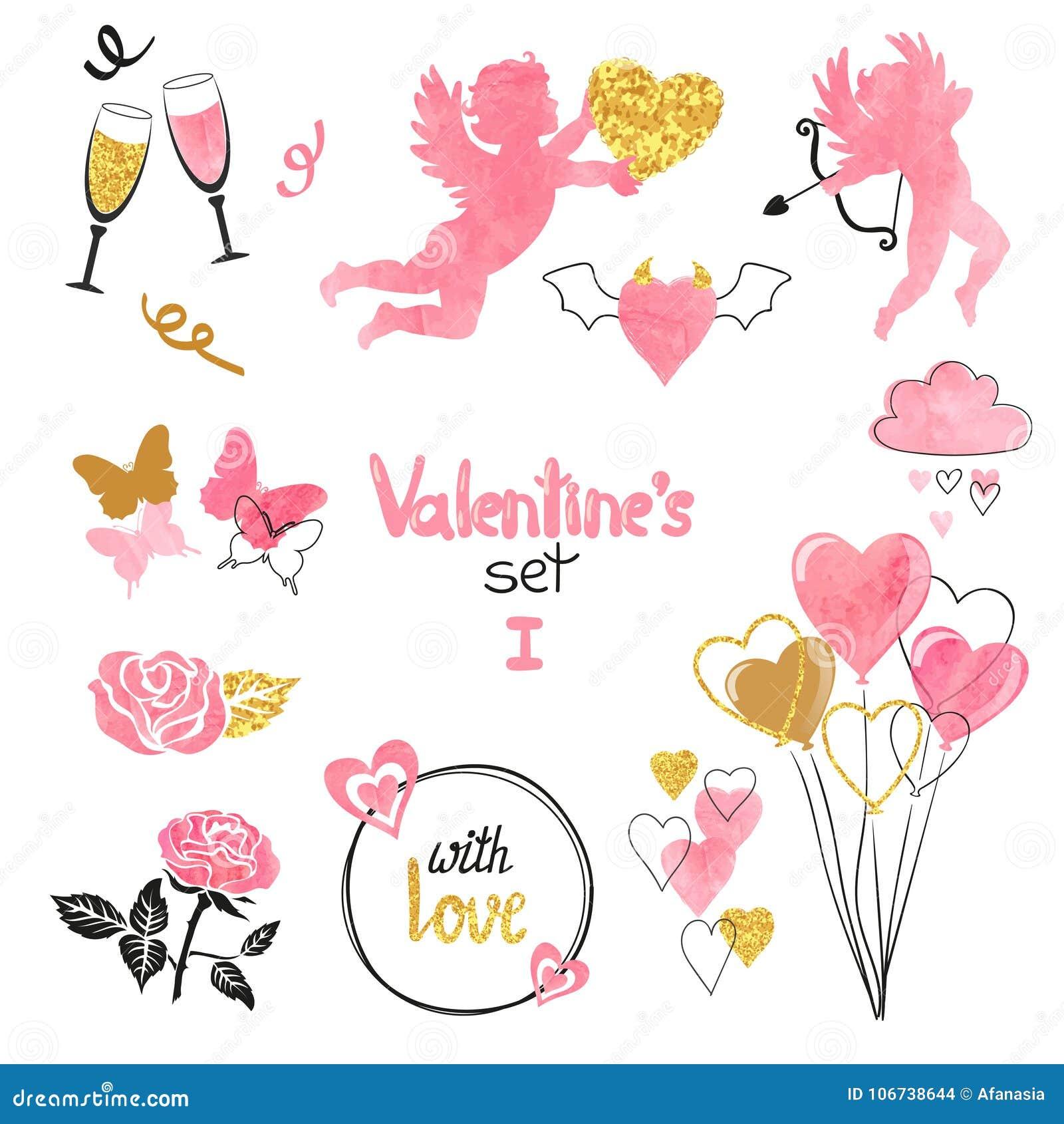 Установленные валентинки Собрание купидонов и романтичные элементы для поздравительной открытки конструируют