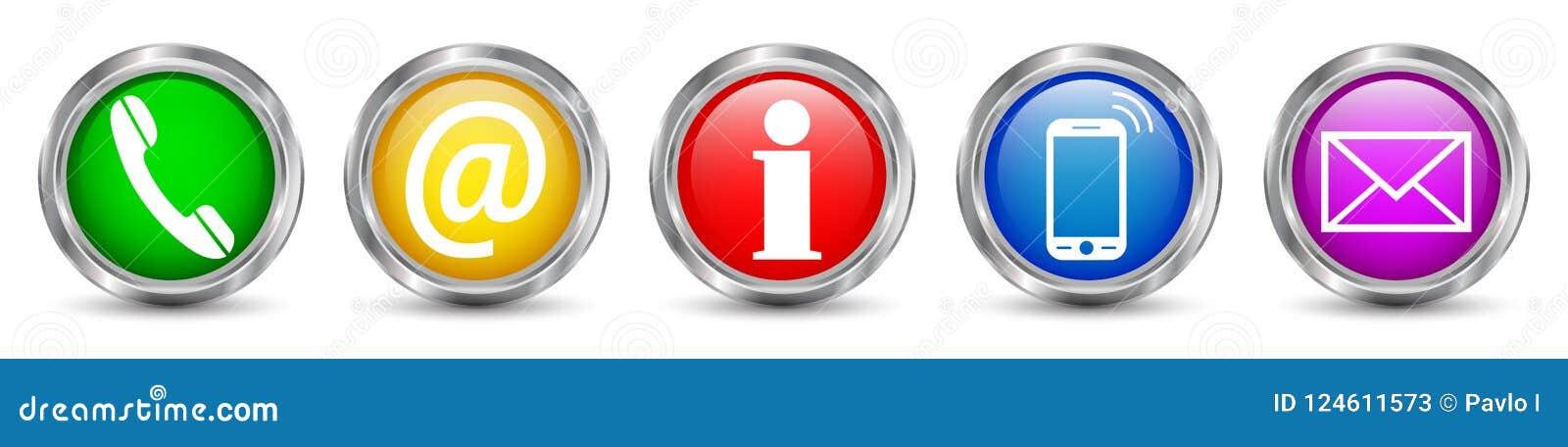 Установленные значки кнопок контакта - вектор