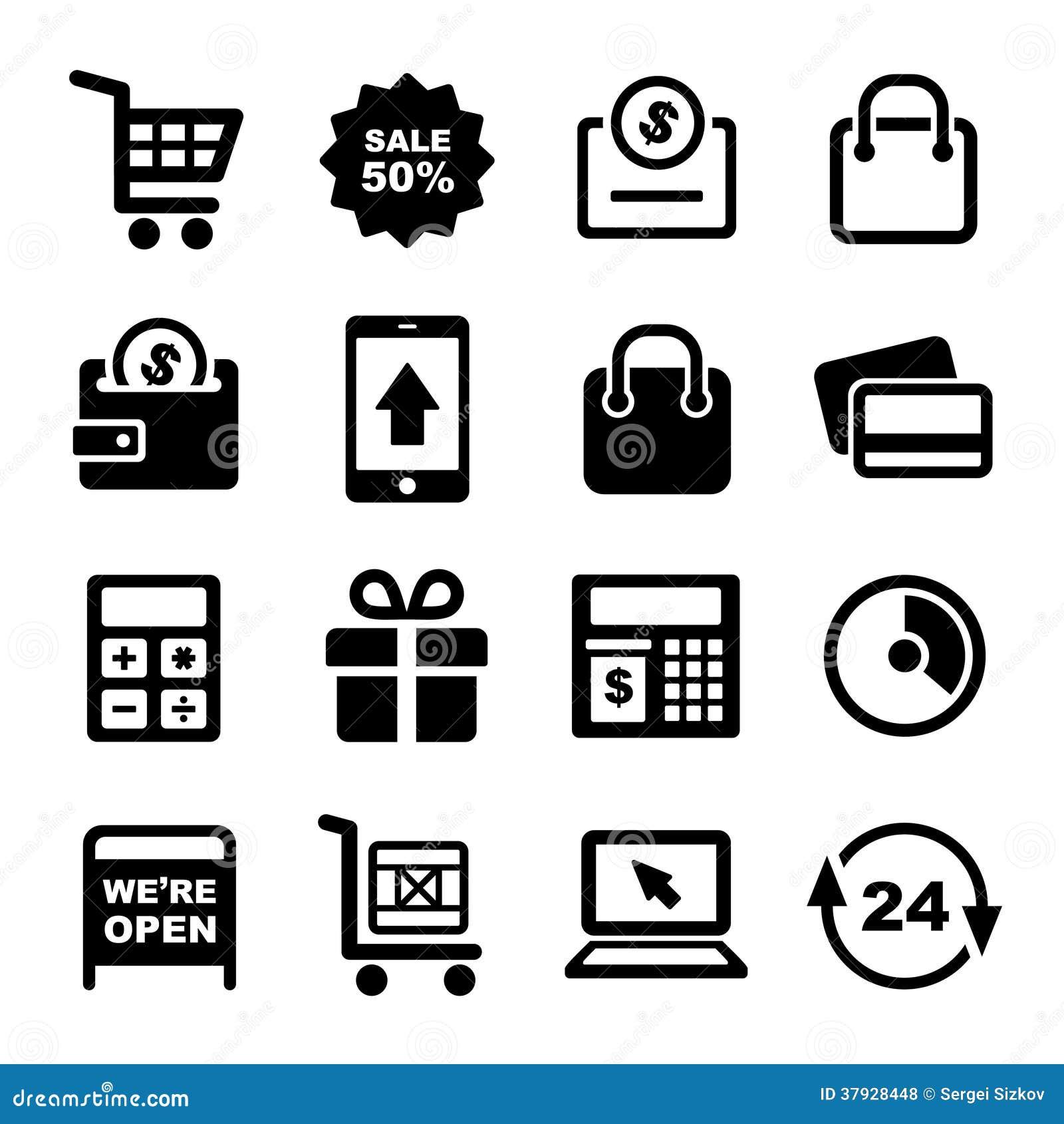 Установленные значки обслуживаний покупок и супермаркета