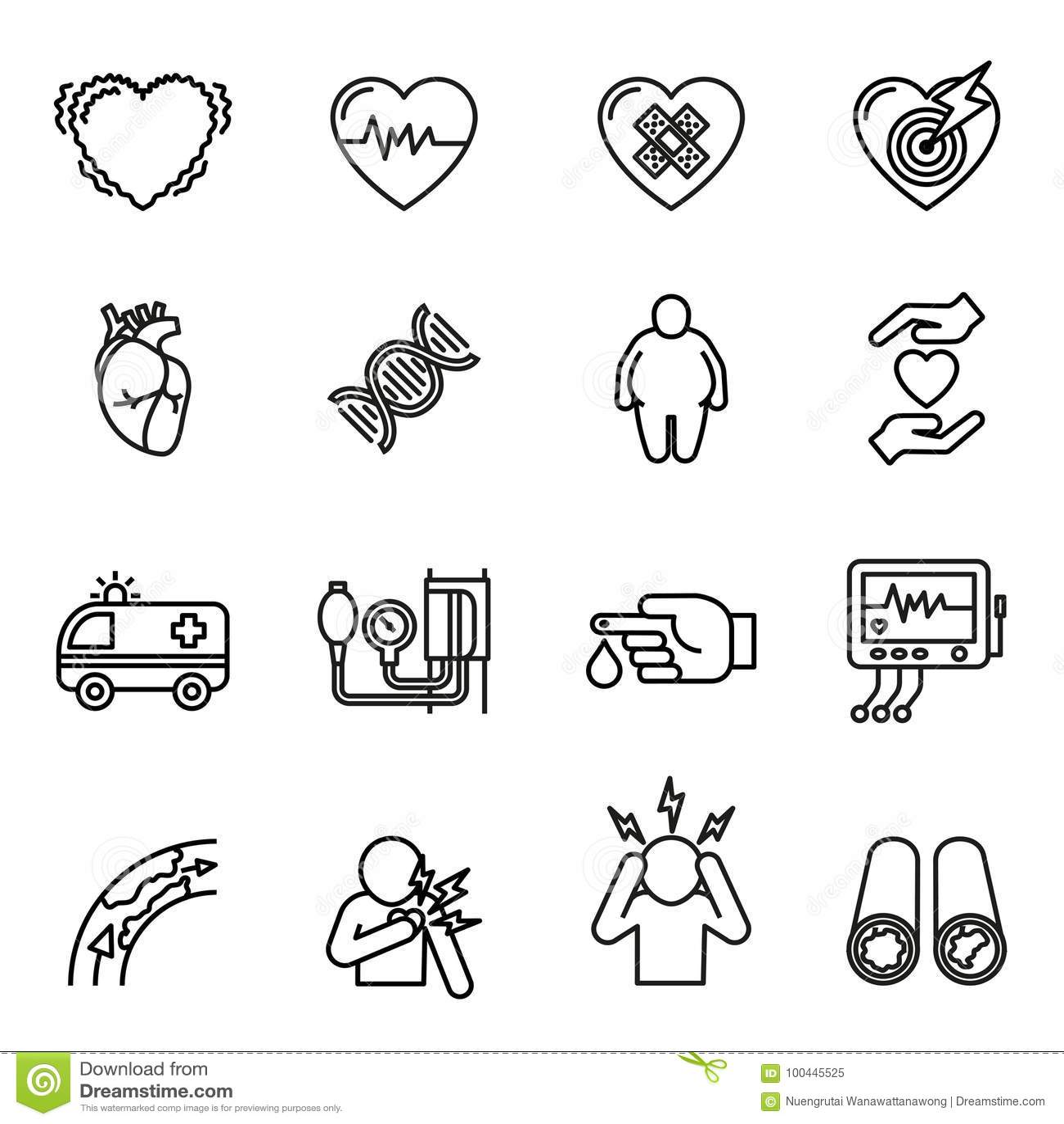 Установленные значки сердечной болезни, сердечного приступа и симптомов