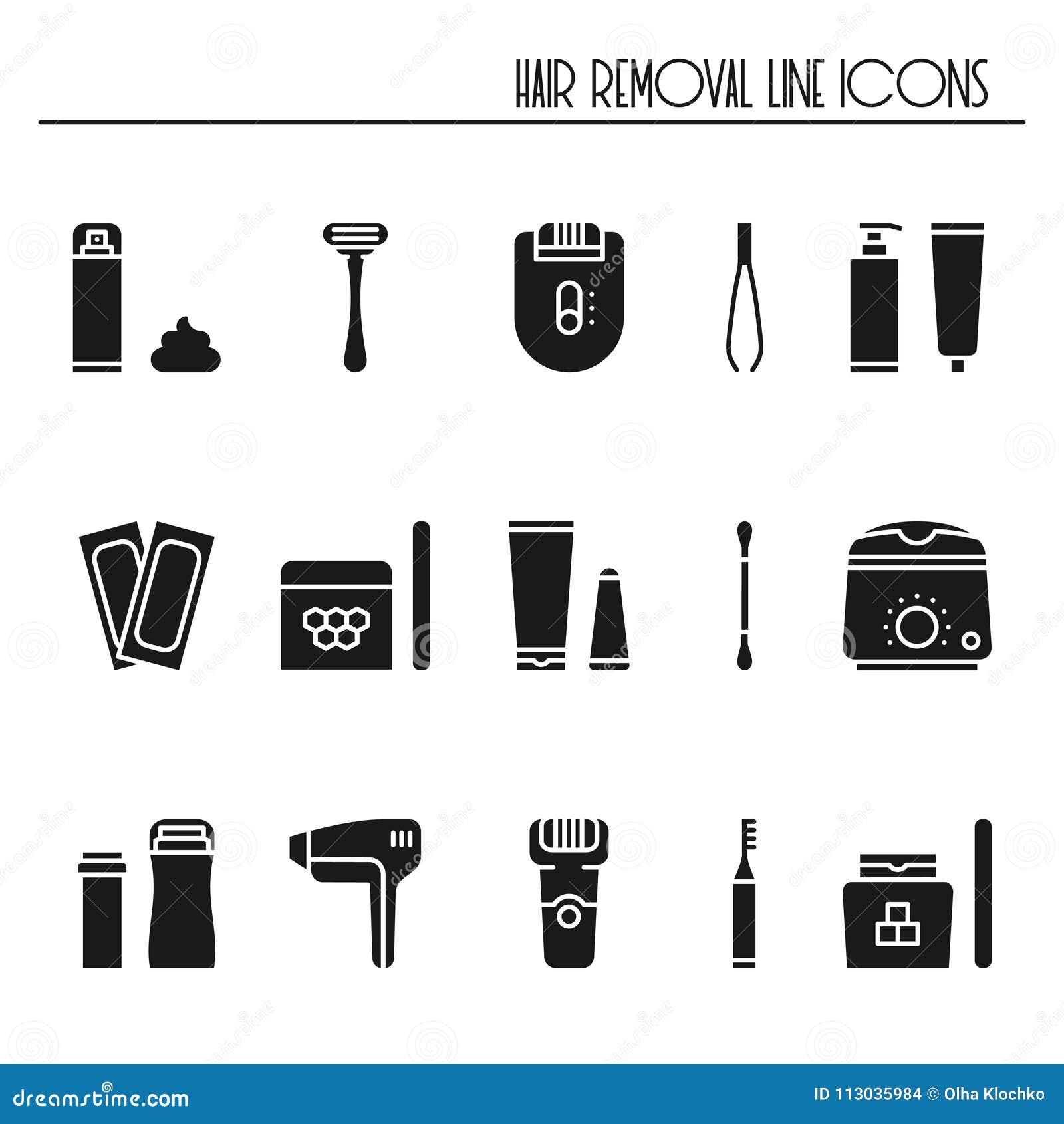 Установленные значки силуэта методов удаления волос Брить засахаривающ лазер вощия tweezing депиляции epilation