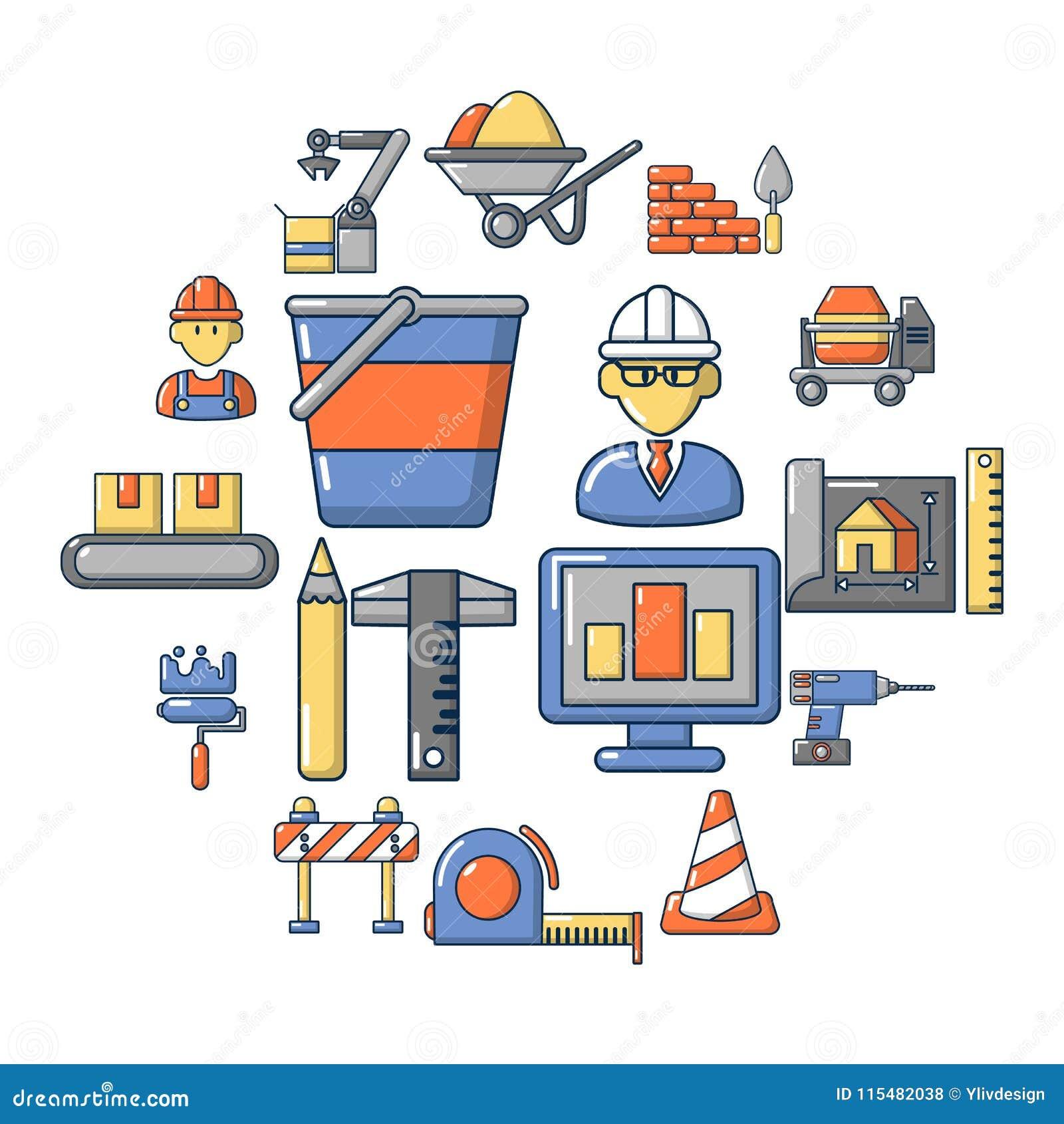 Установленные значки, стиль строительного процесса шаржа