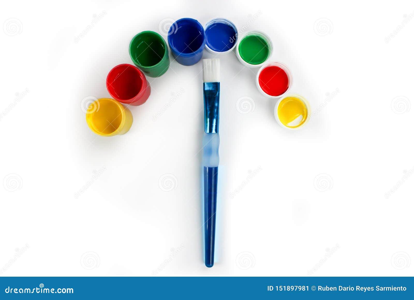 Установленные краски гуаши для детей изолированных на белой предпосылке
