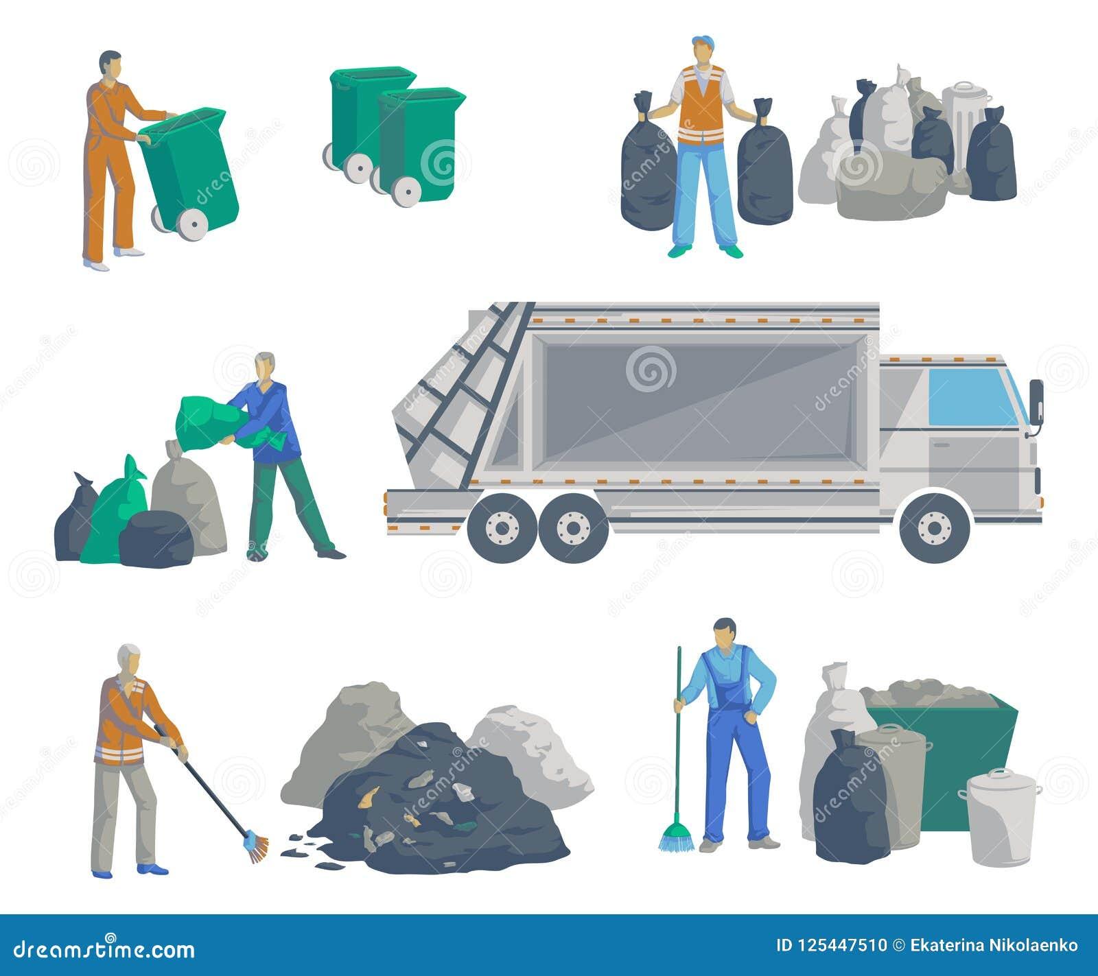 Установленные люди отброса Мусоровоз, сумки, чонсервные банкы, ящики, контейнеры и куча погани Изолированные предметы на белой пр