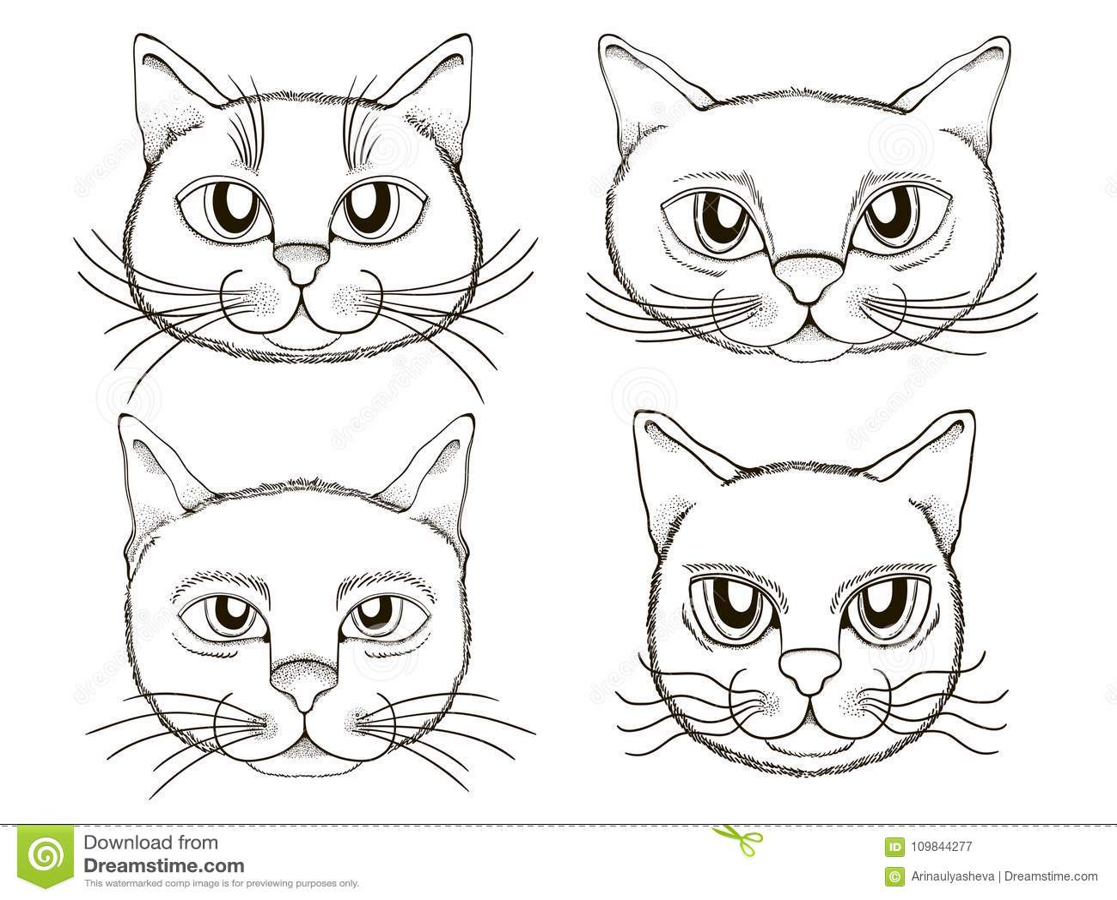установленные смайлики голов котов элемент книжка раскраски