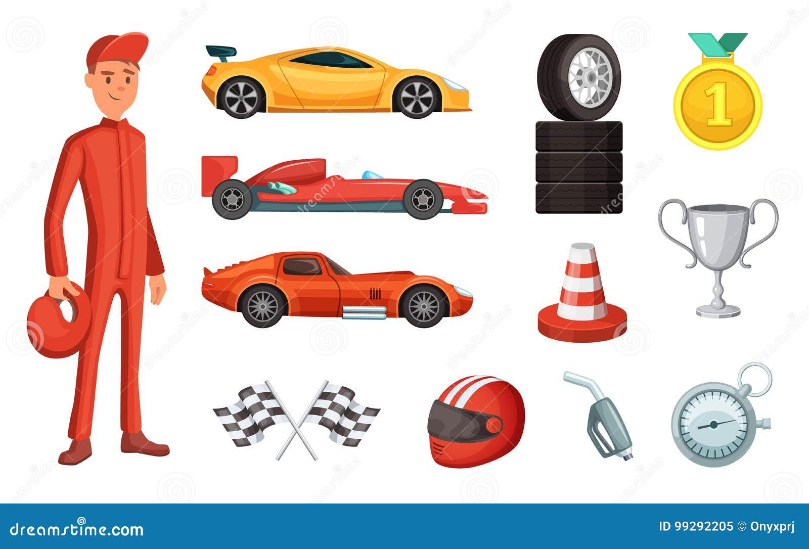 Установленные спортивные машины и различные значки гонок Двигатель, шлем, мотор и другие символы формулы