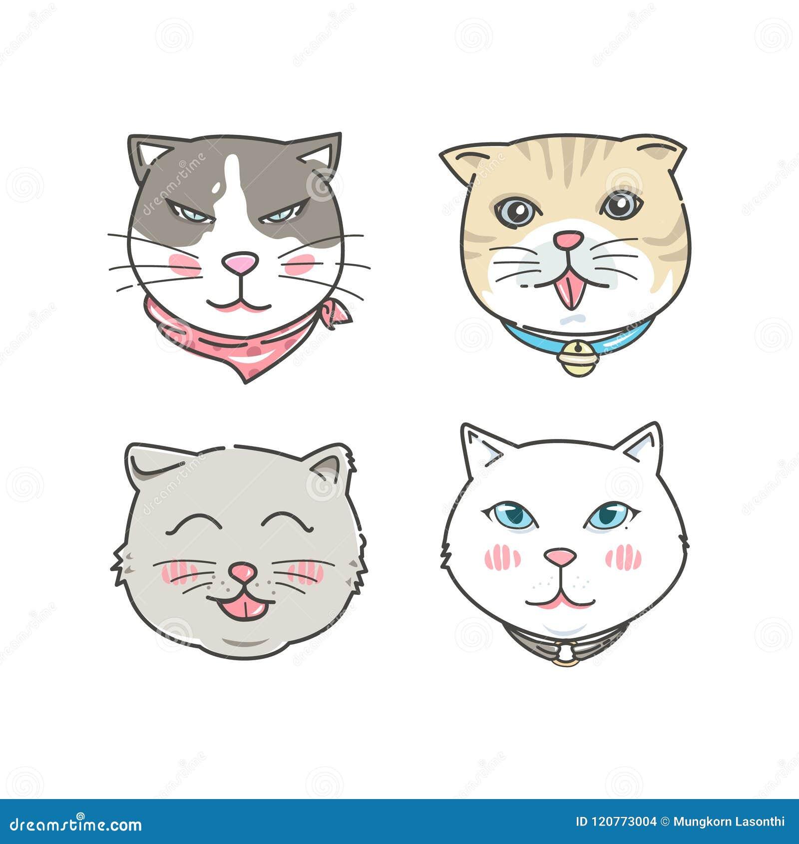 Установленные стороны кота шаржа Стиль нарисованный рукой