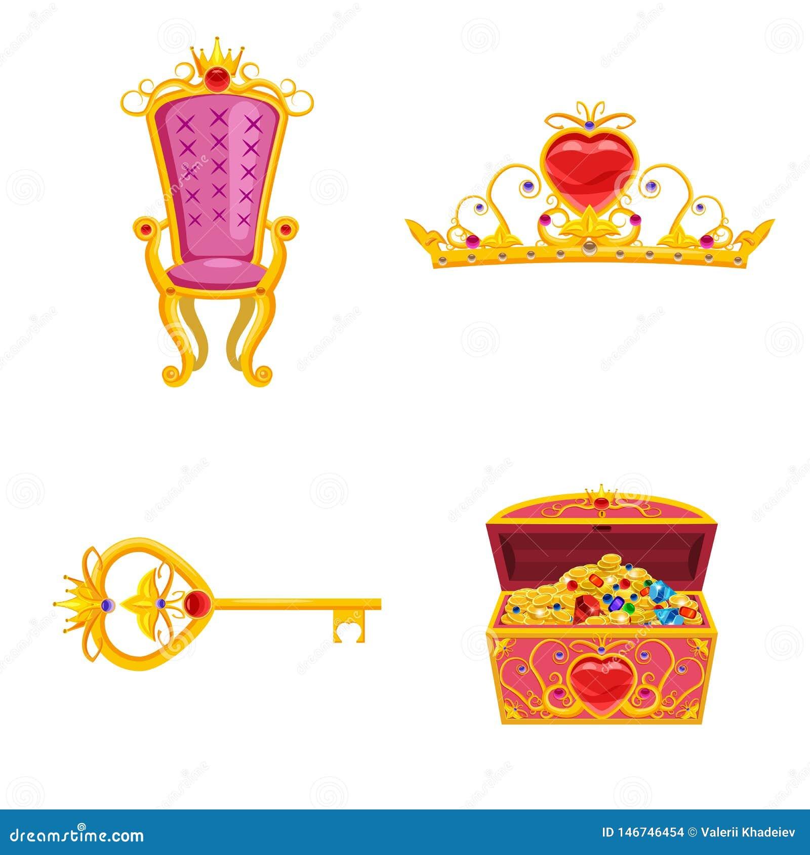 Установленные элементы мира феи и атрибуты дизайна Сундук с сокровищами, тиара, ключ, трон Вектор, иллюстрация, мультфильм