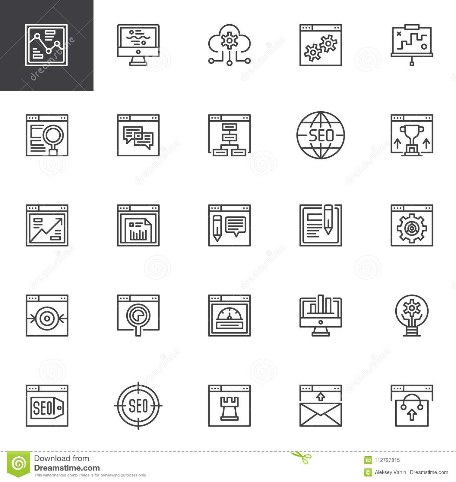Установленные SEO и онлайн значки плана маркетинга
