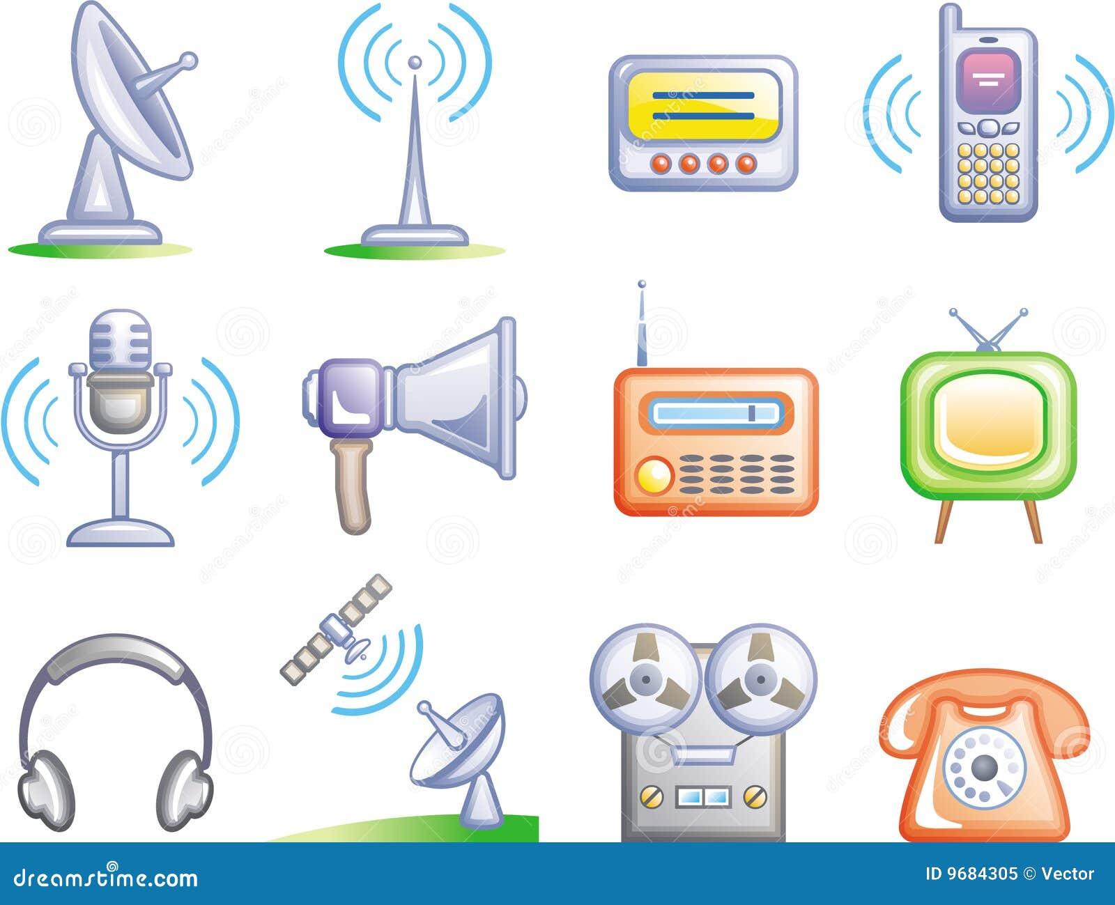 установленный иконами вектор телекоммуникаций