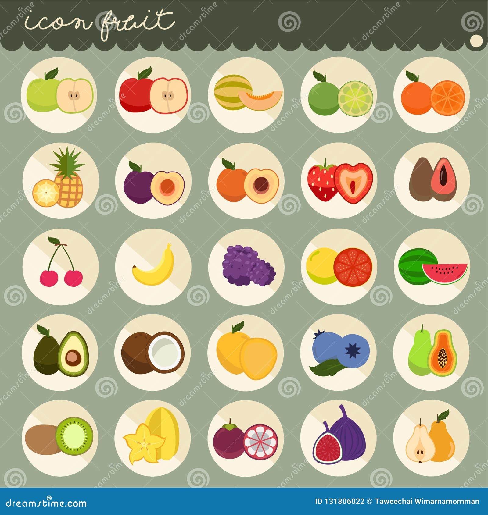 25 установленный основной плоский дизайн, цвета собраний вектора плодов, установил плодов яблоко, банан, апельсин, виноградины, в