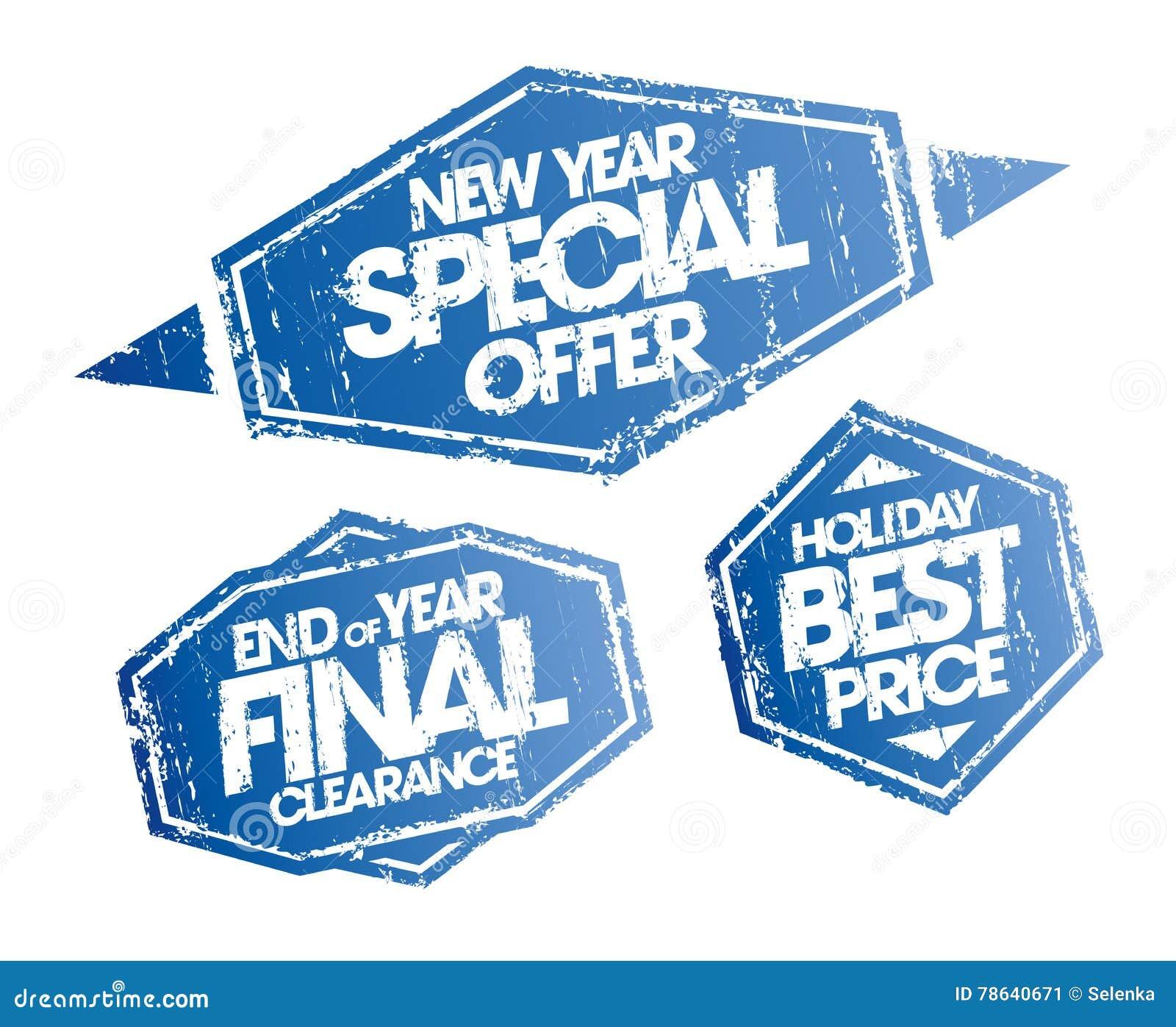 Установленное предложение Нового Года специальное, зазор конца года окончательный и штемпеля цены праздника самые лучшие